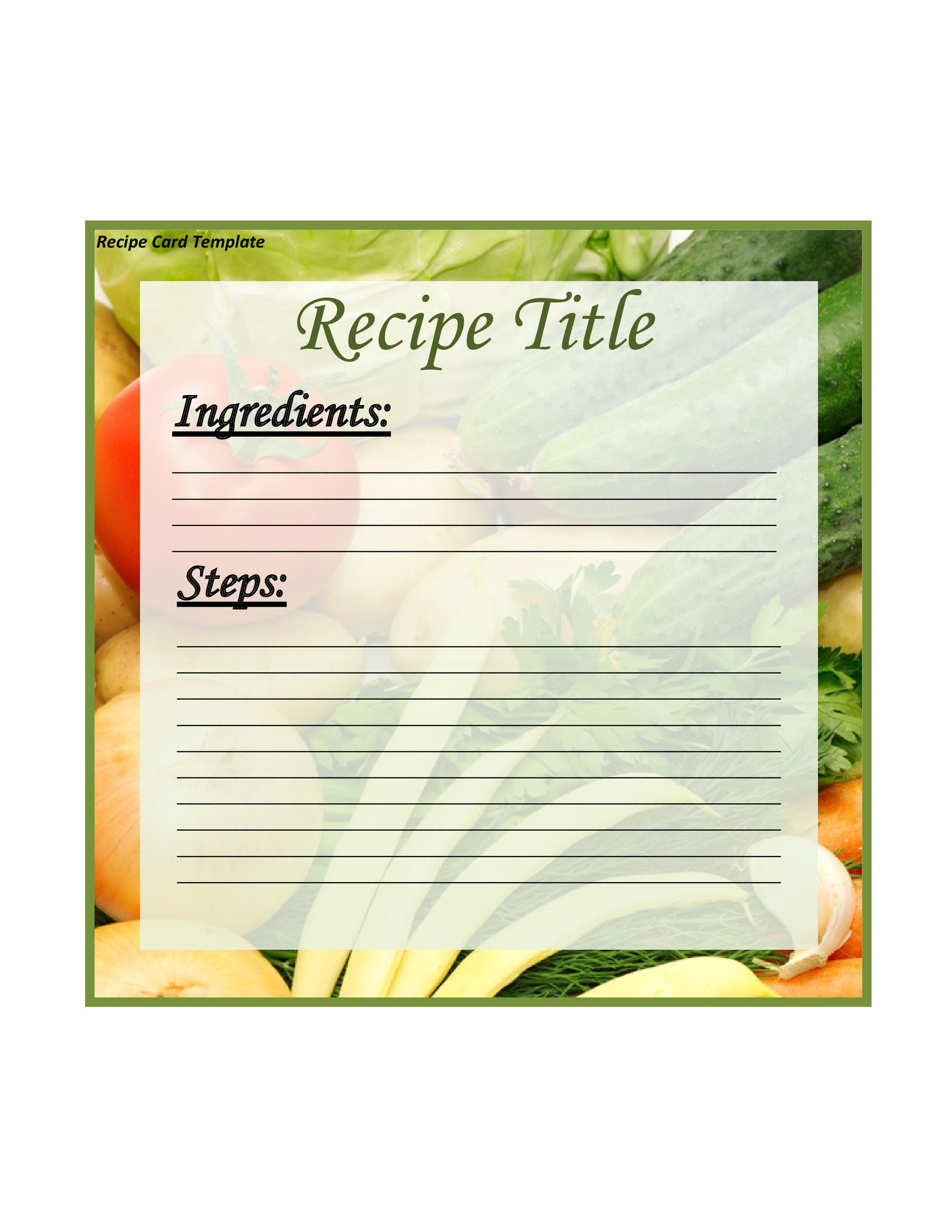 cookbook template recipe book