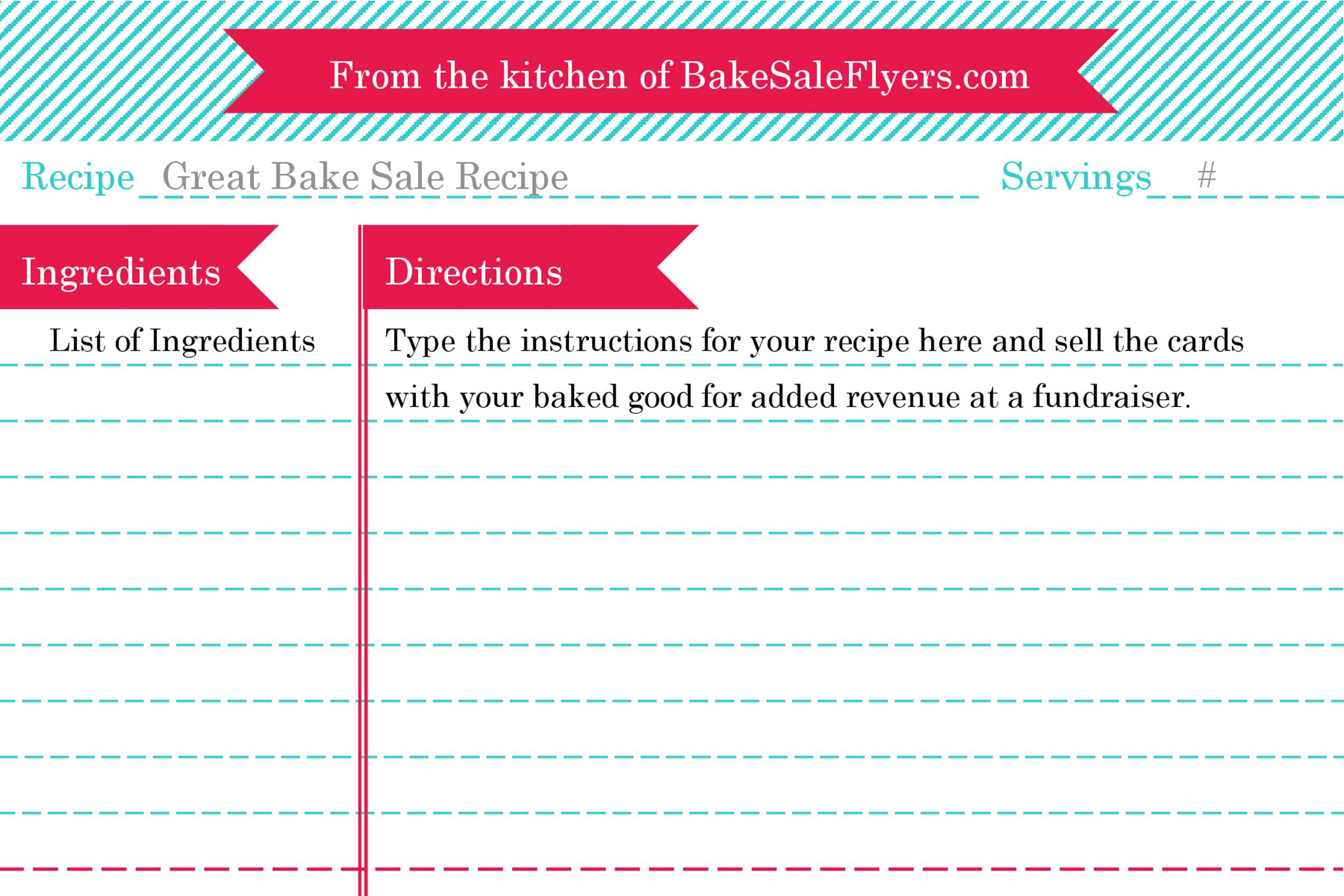 Free cookbook template 20