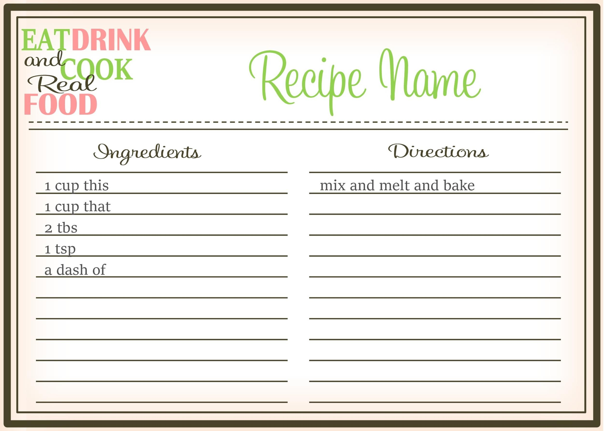 cookbook template free download