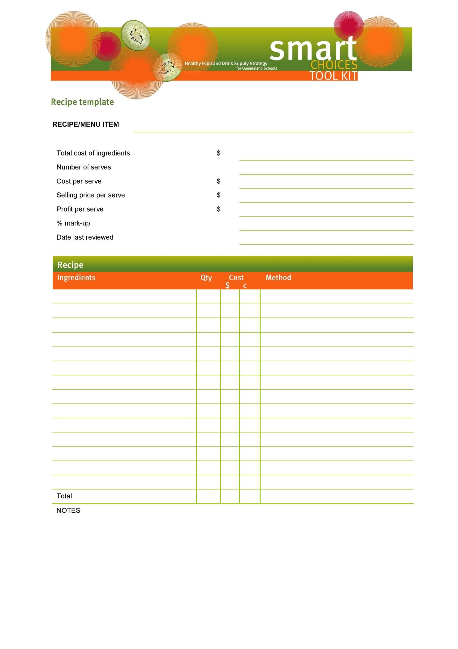 Free cookbook template 23