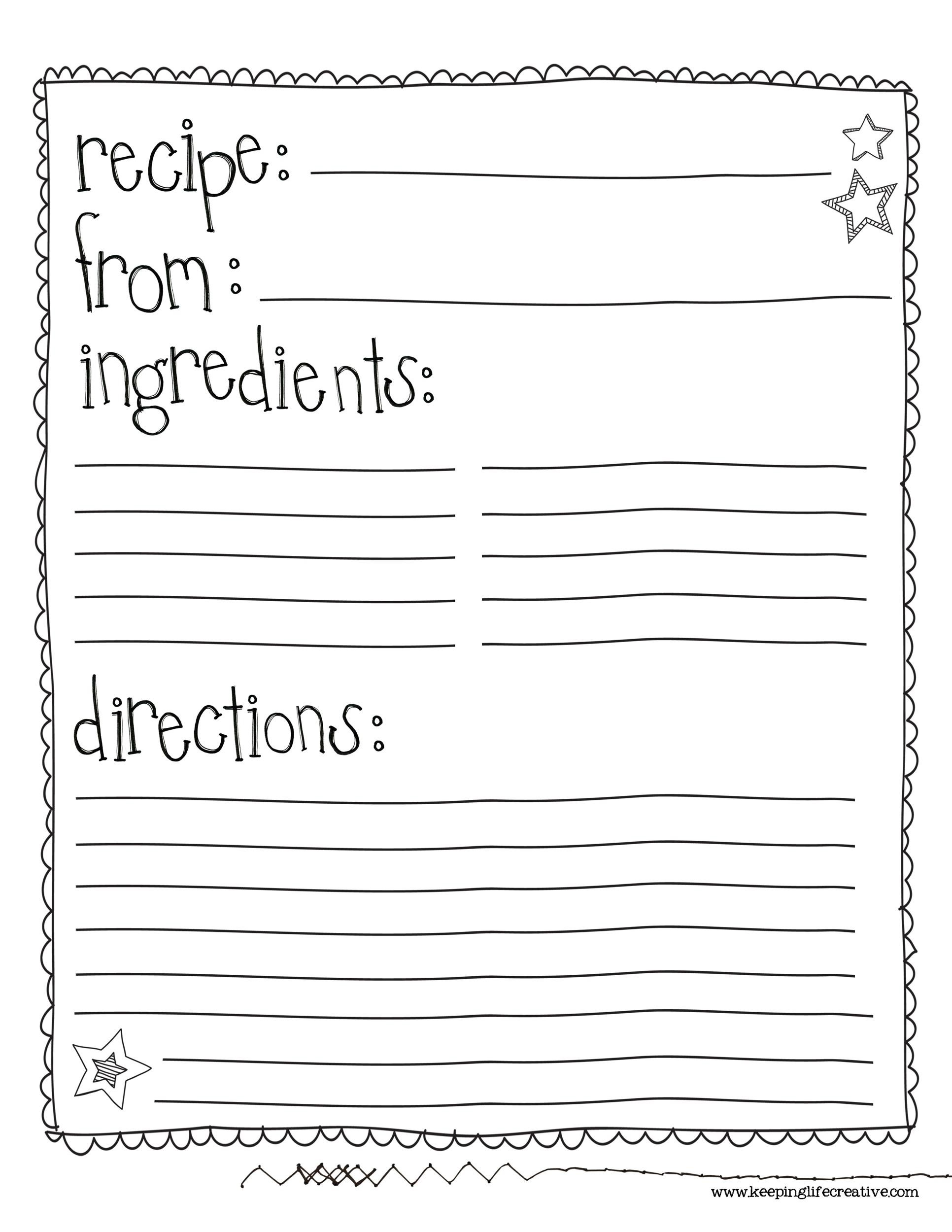 recipe book word template