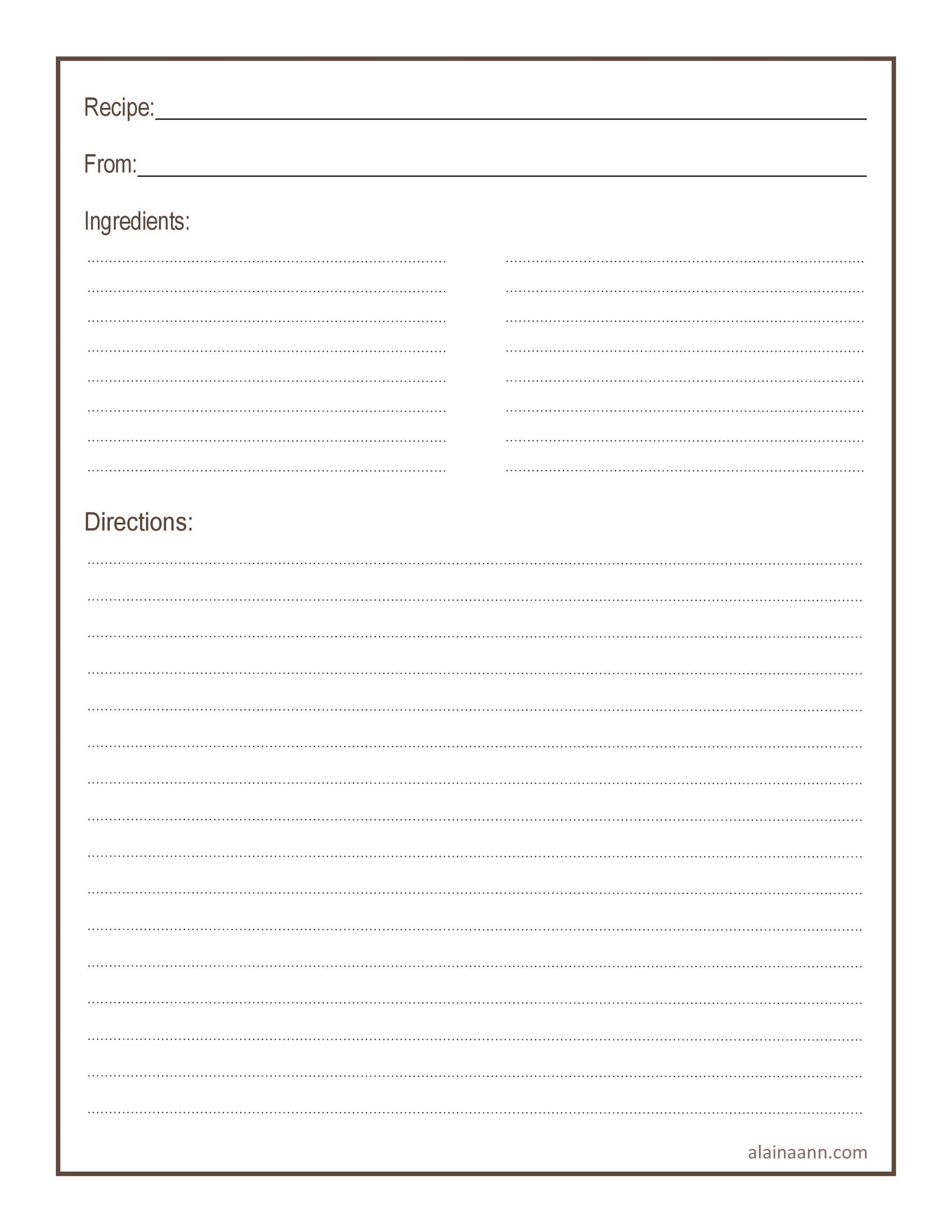 Free cookbook template 30