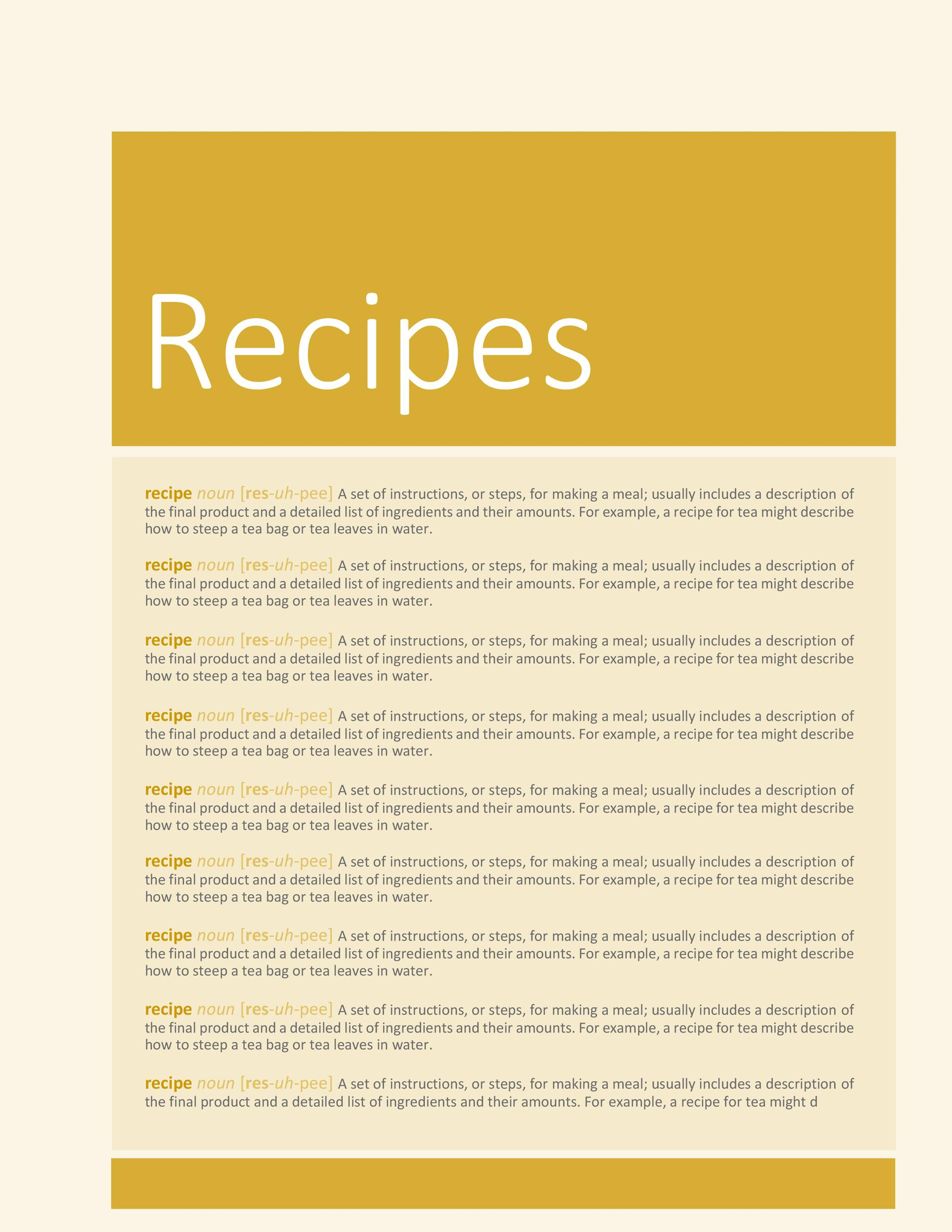 Free Cookbook Template 33