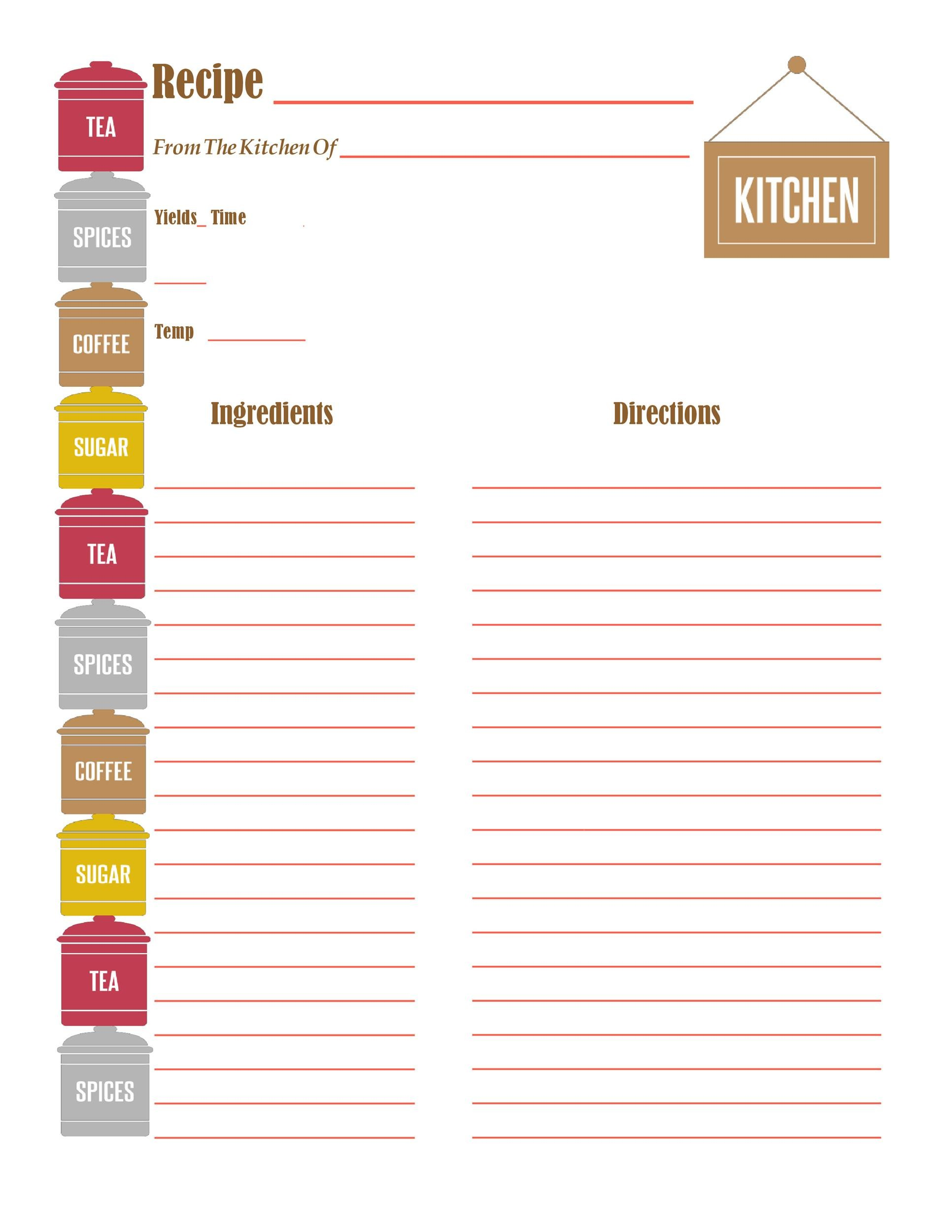 recipe book binder categories kit printable cookbook