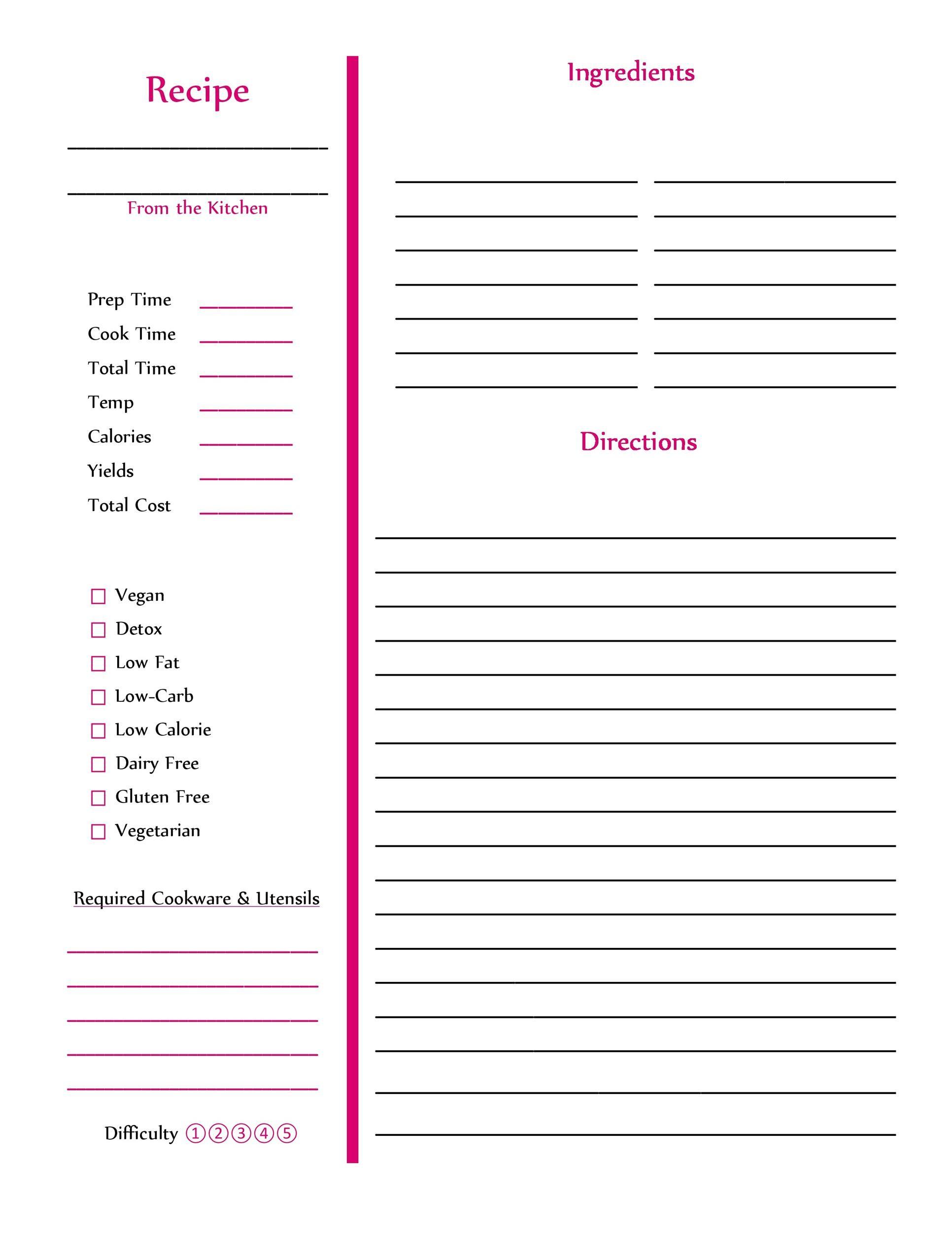 Free cookbook template 42