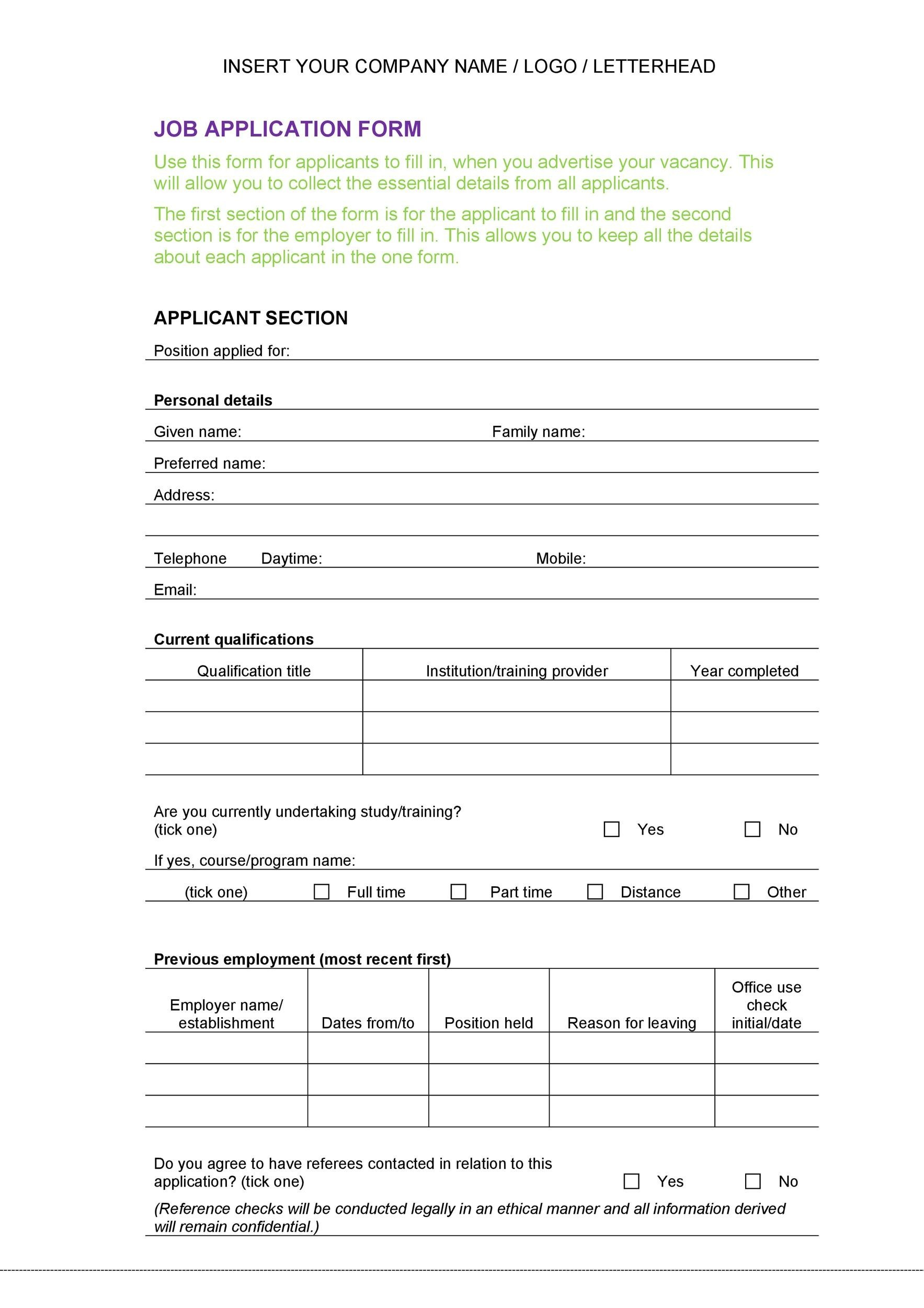 Free employment application template 02