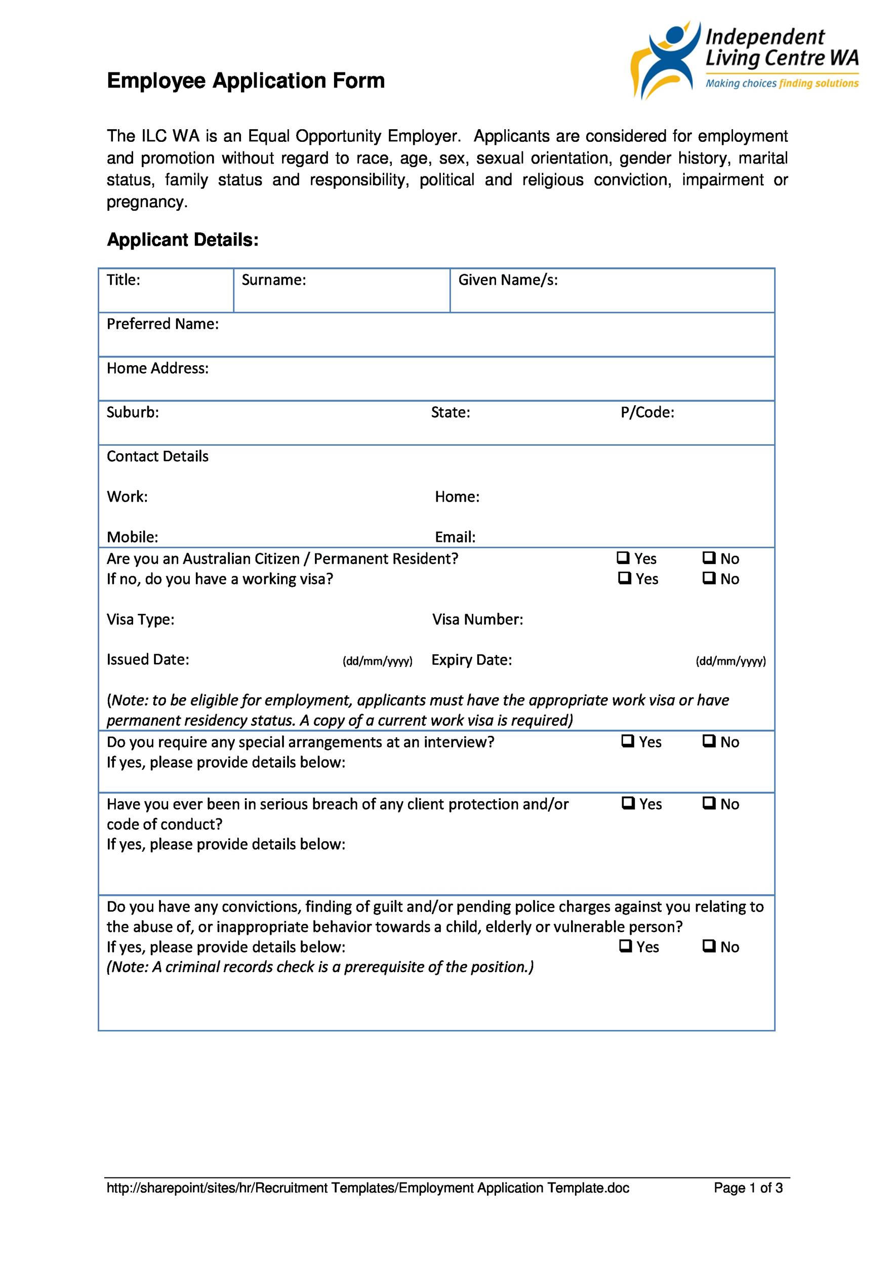 Employee Application | 50 Free Employment Job Application Form Templates Printable