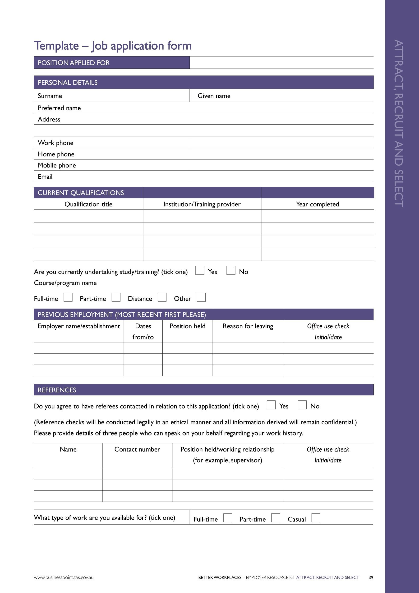 Free employment application template 09