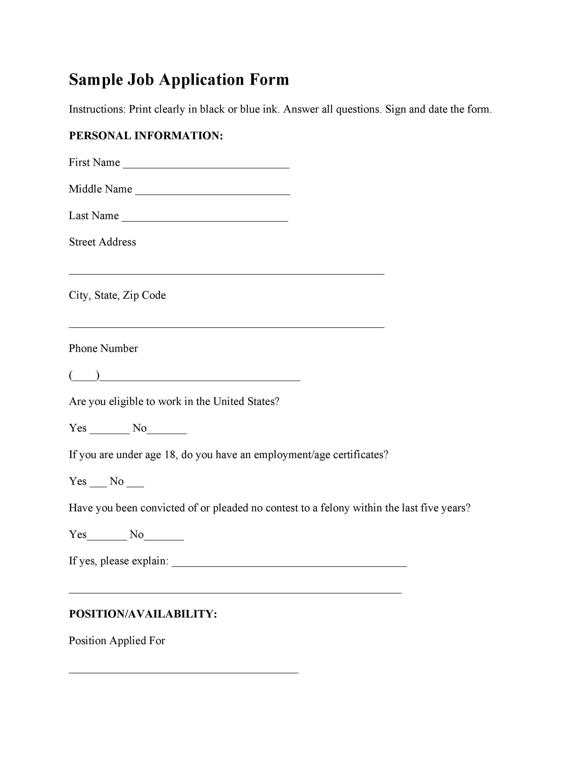 It is a graphic of Impertinent Printable Job Applications Template