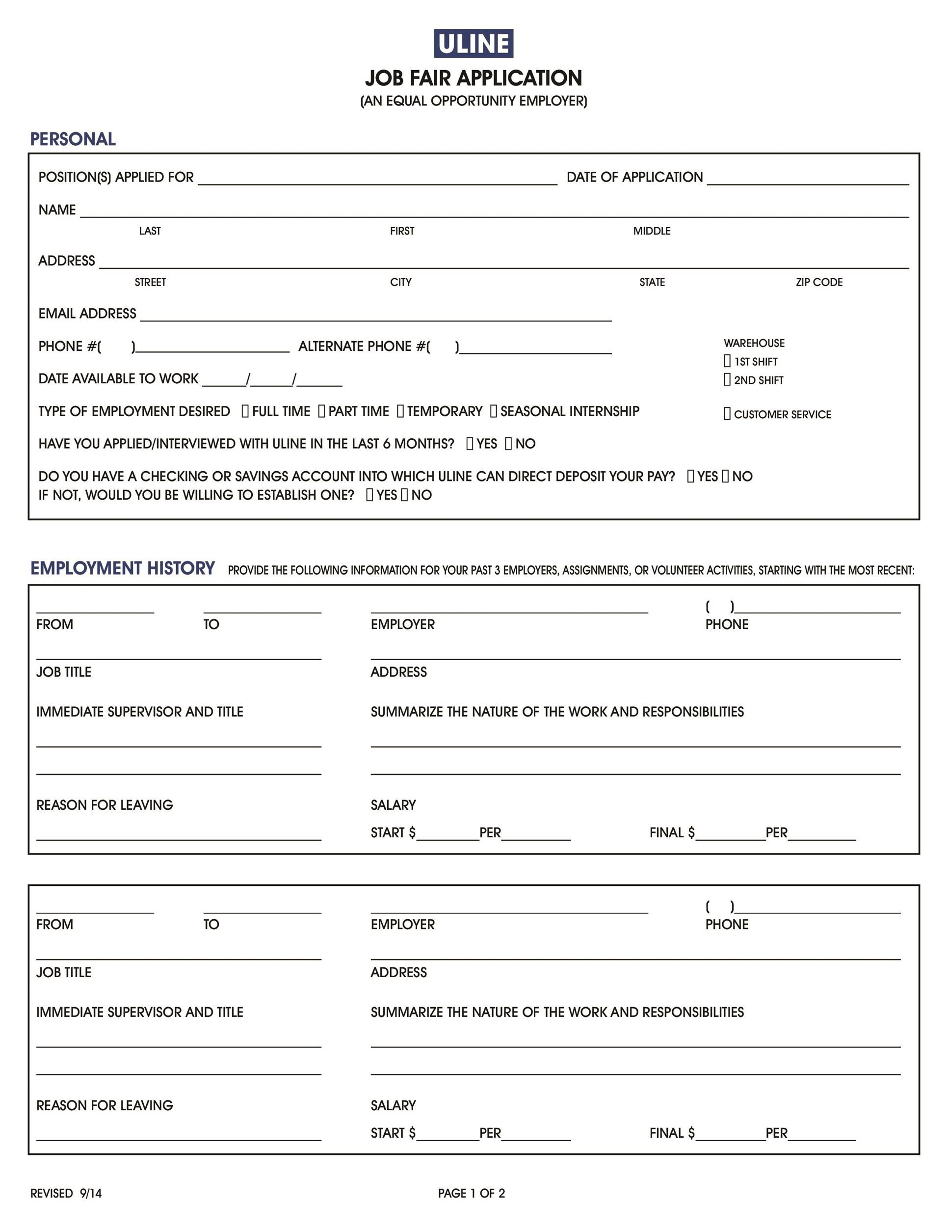 50 Free Employment Job Application Form Templates Printable – Employment History Template