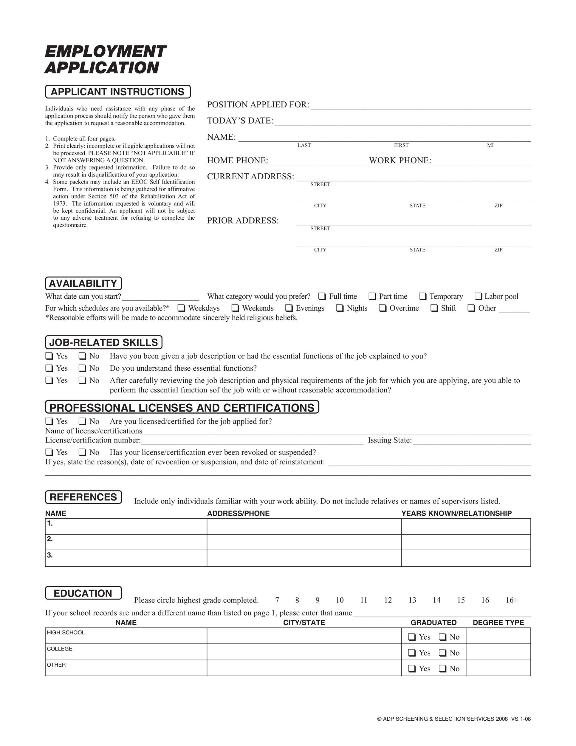 Free employment application template 13