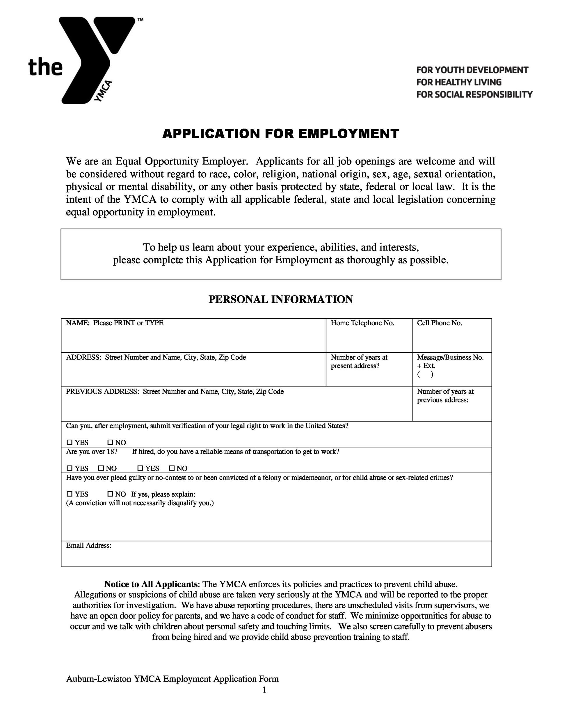 Free employment application template 16