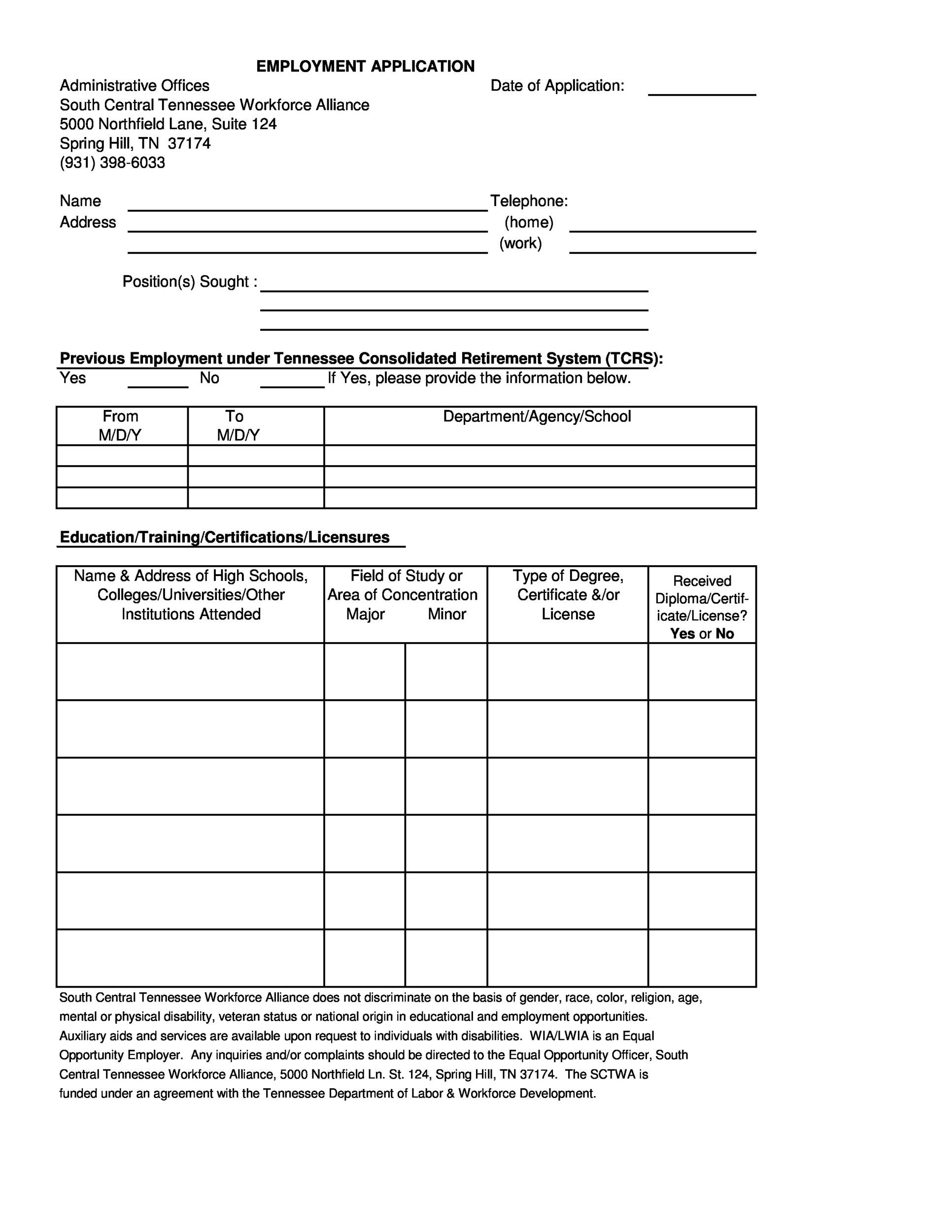Free employment application template 18