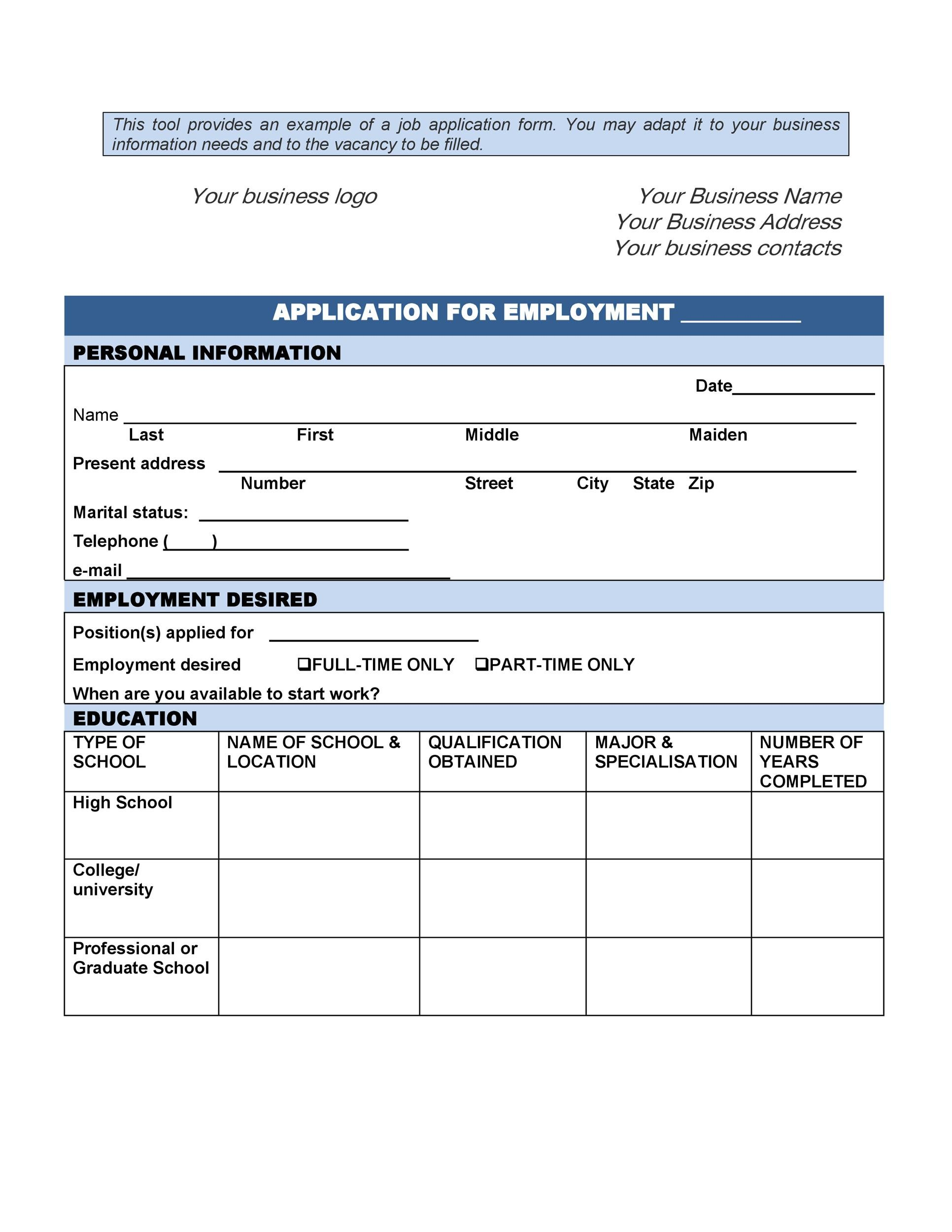 Free employment application template 19