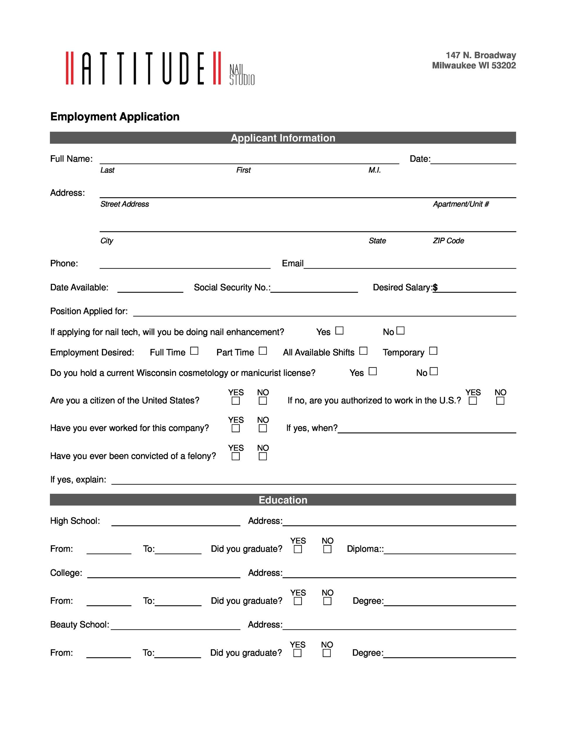 Free employment application template 20