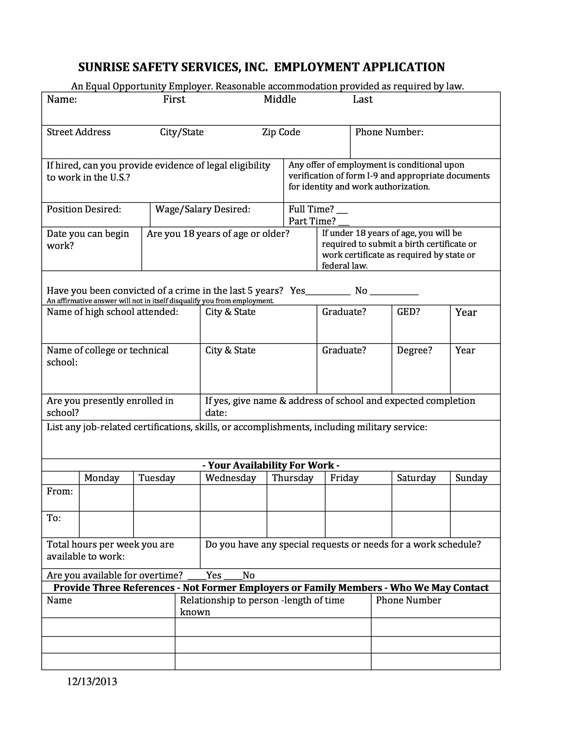 Free employment application template 21