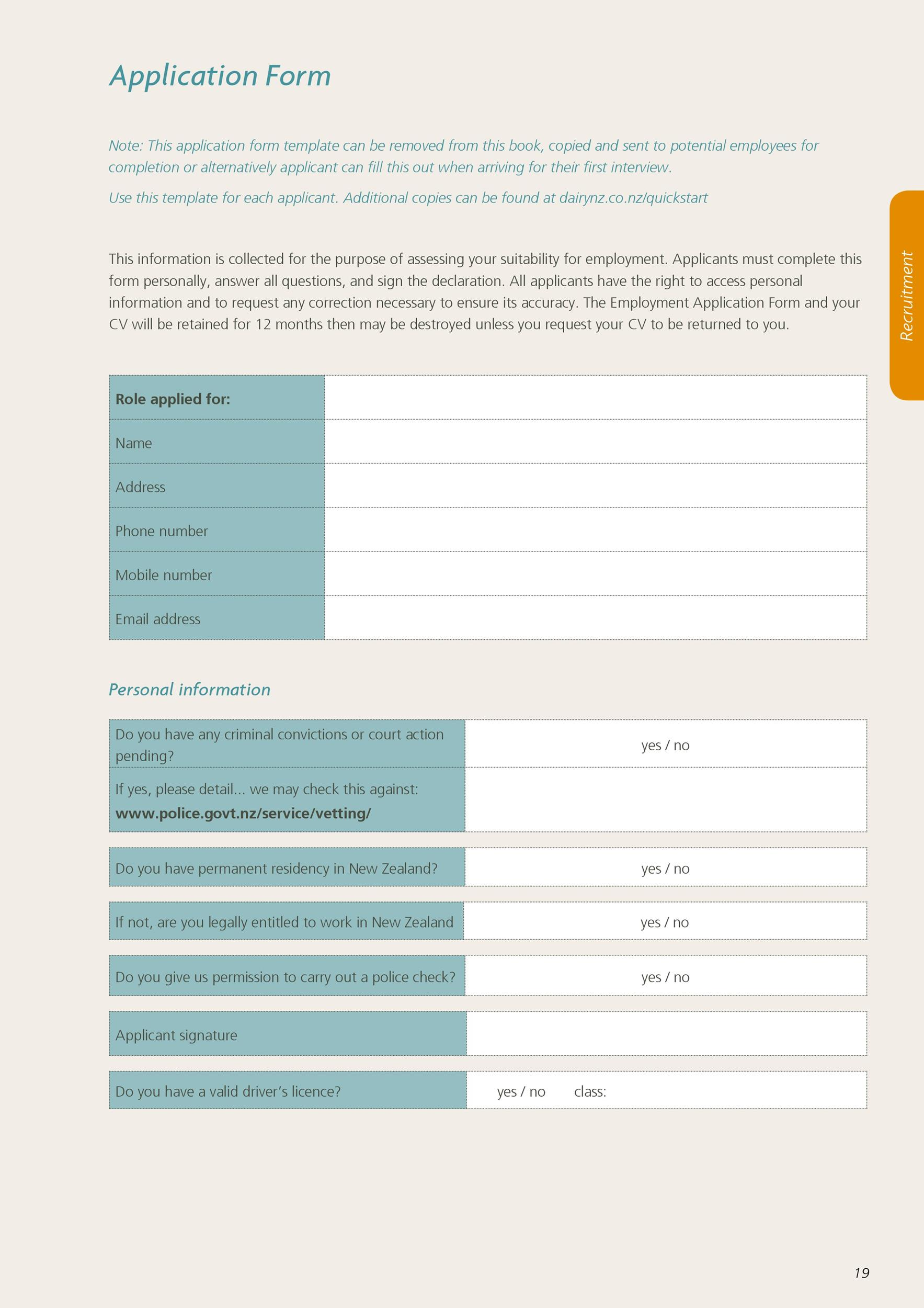 Free employment application template 22