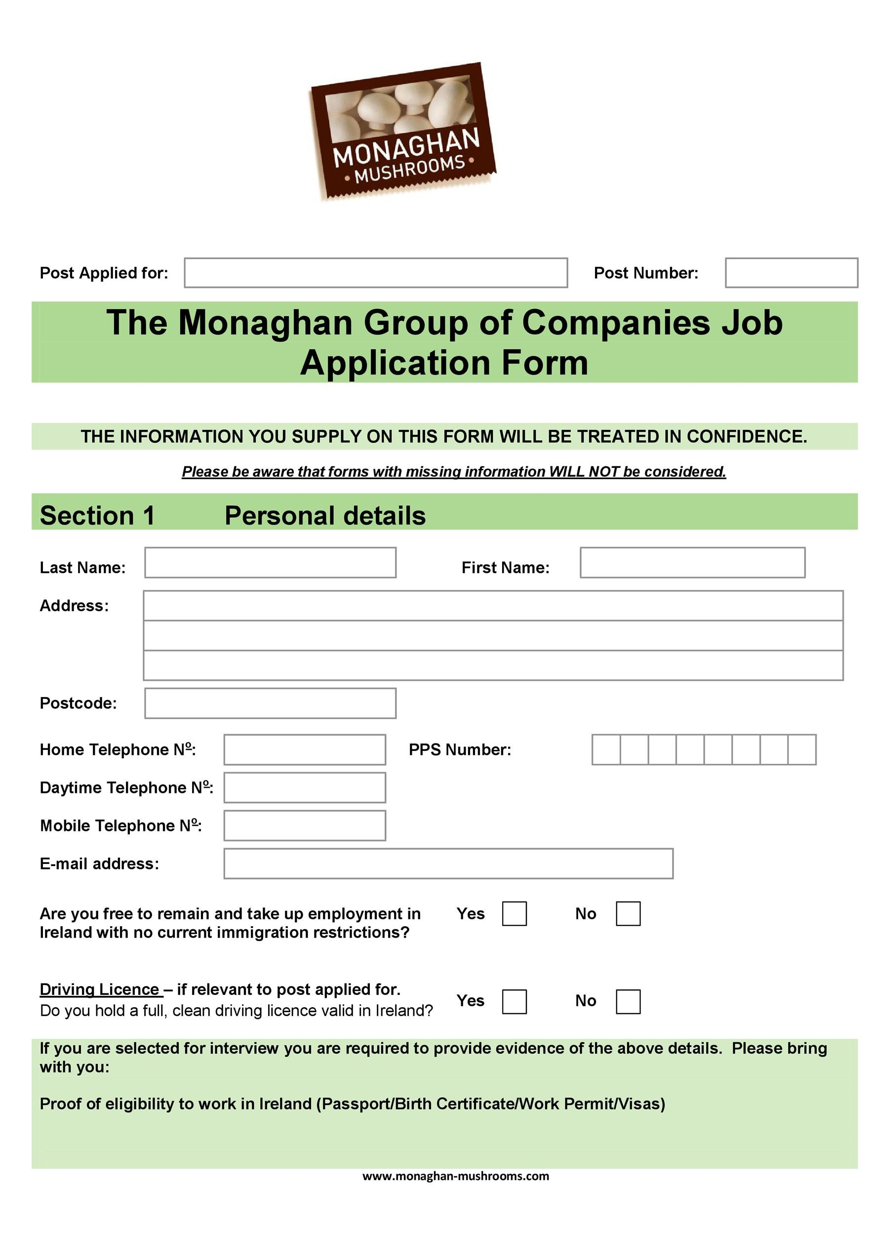 Free employment application template 25