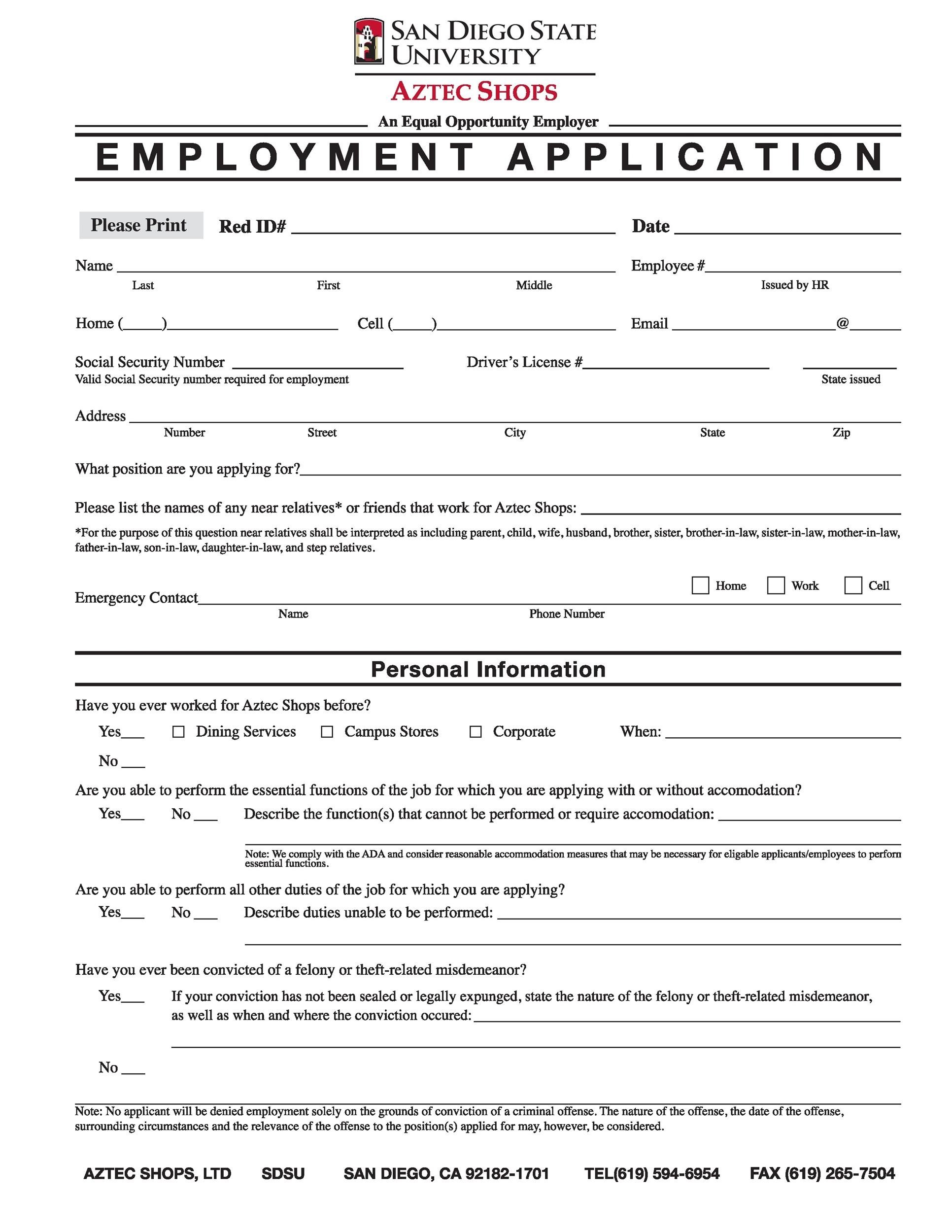 Free employment application template 28