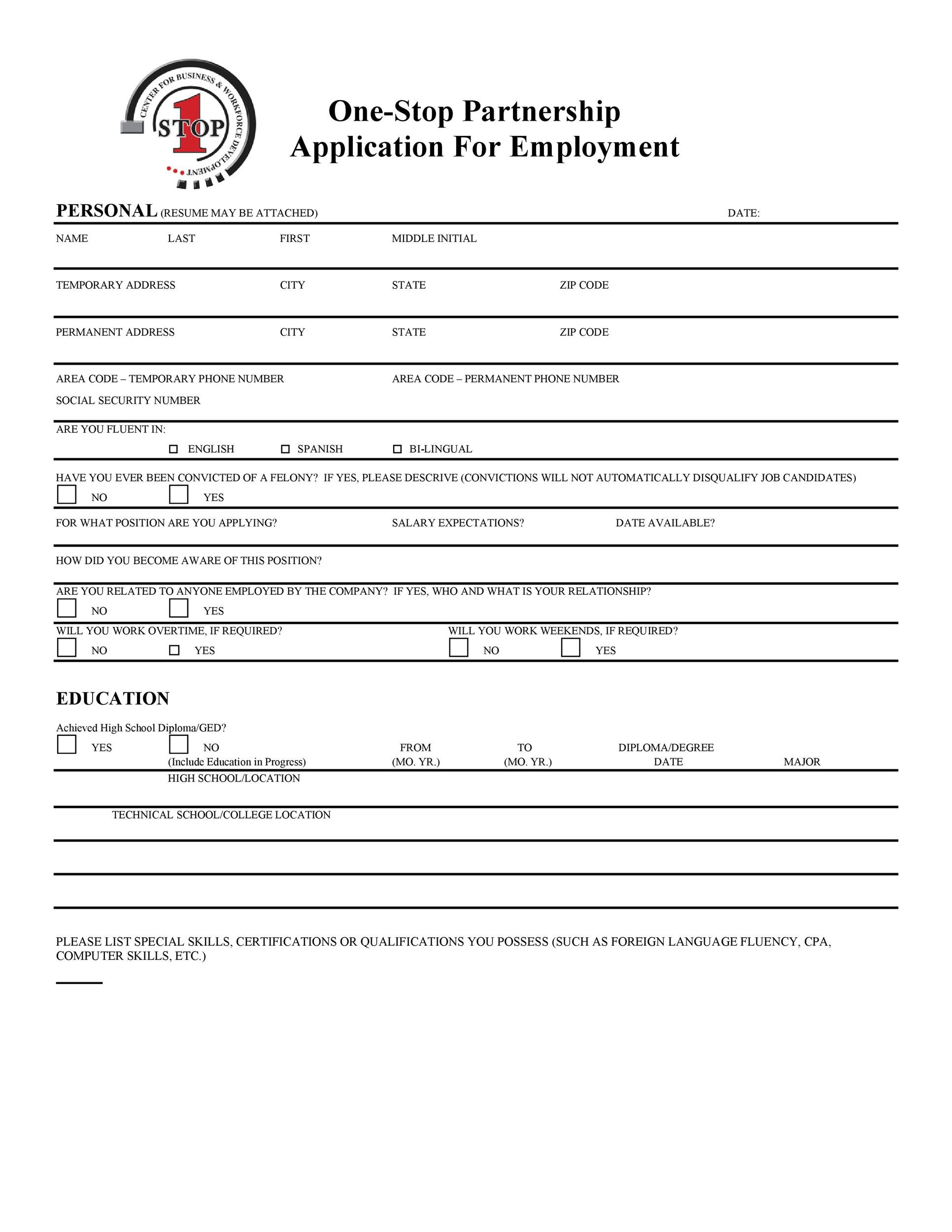 Free employment application template 29