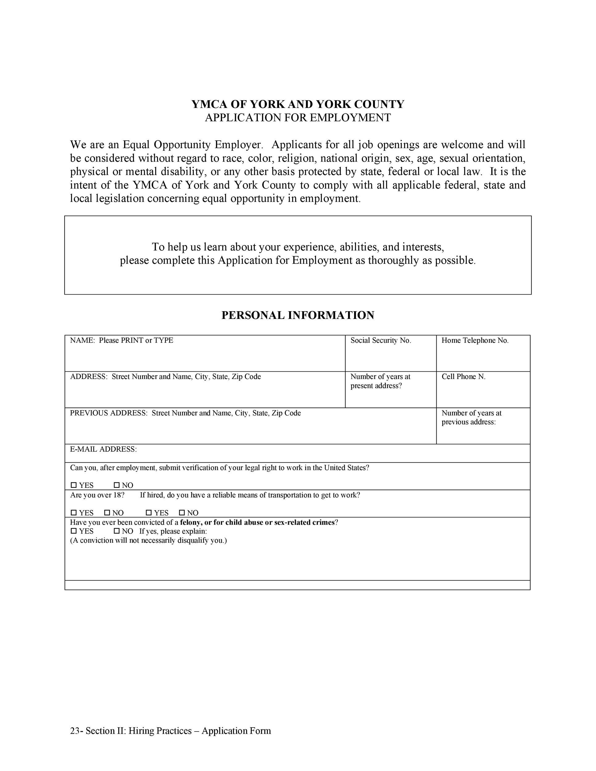 Free employment application template 30