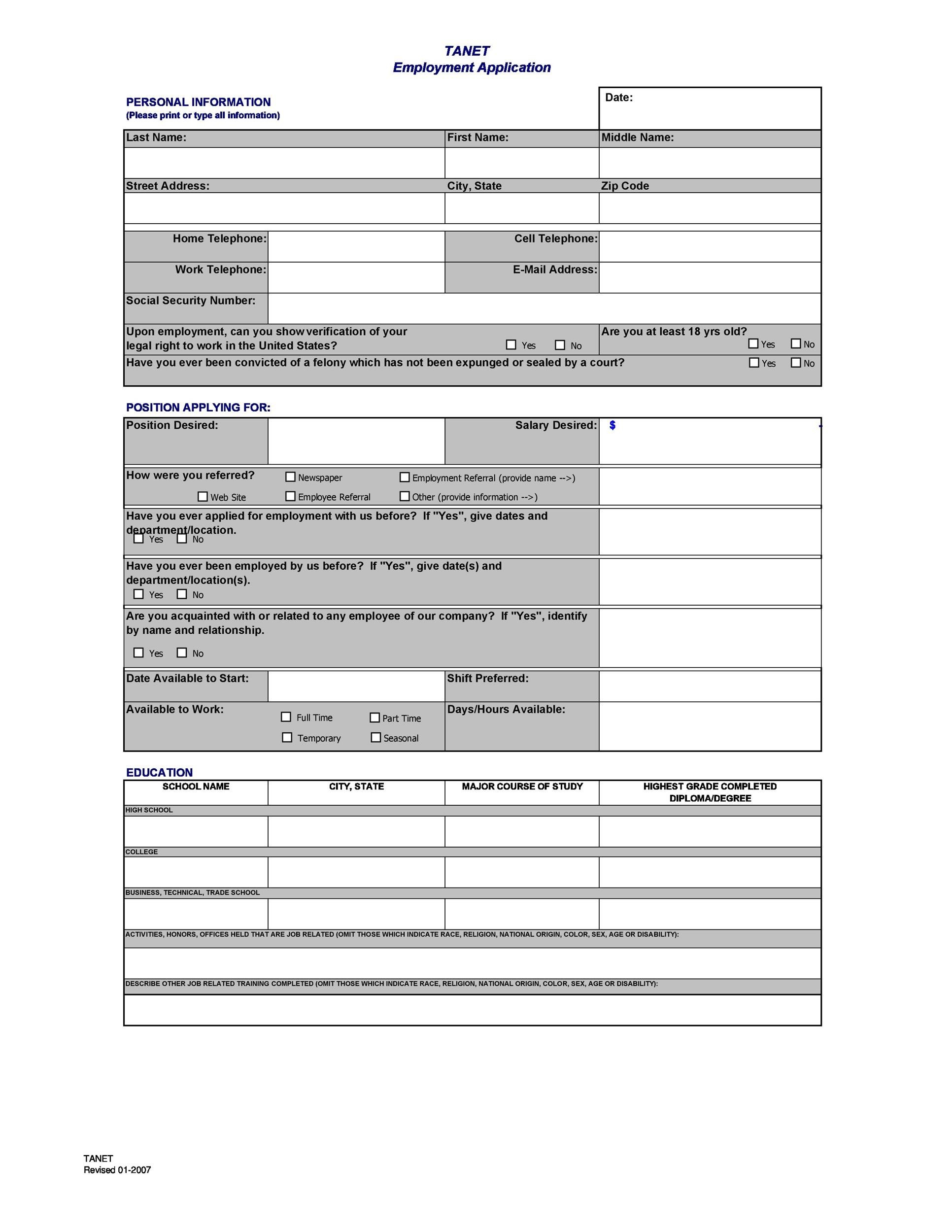 Free employment application template 31