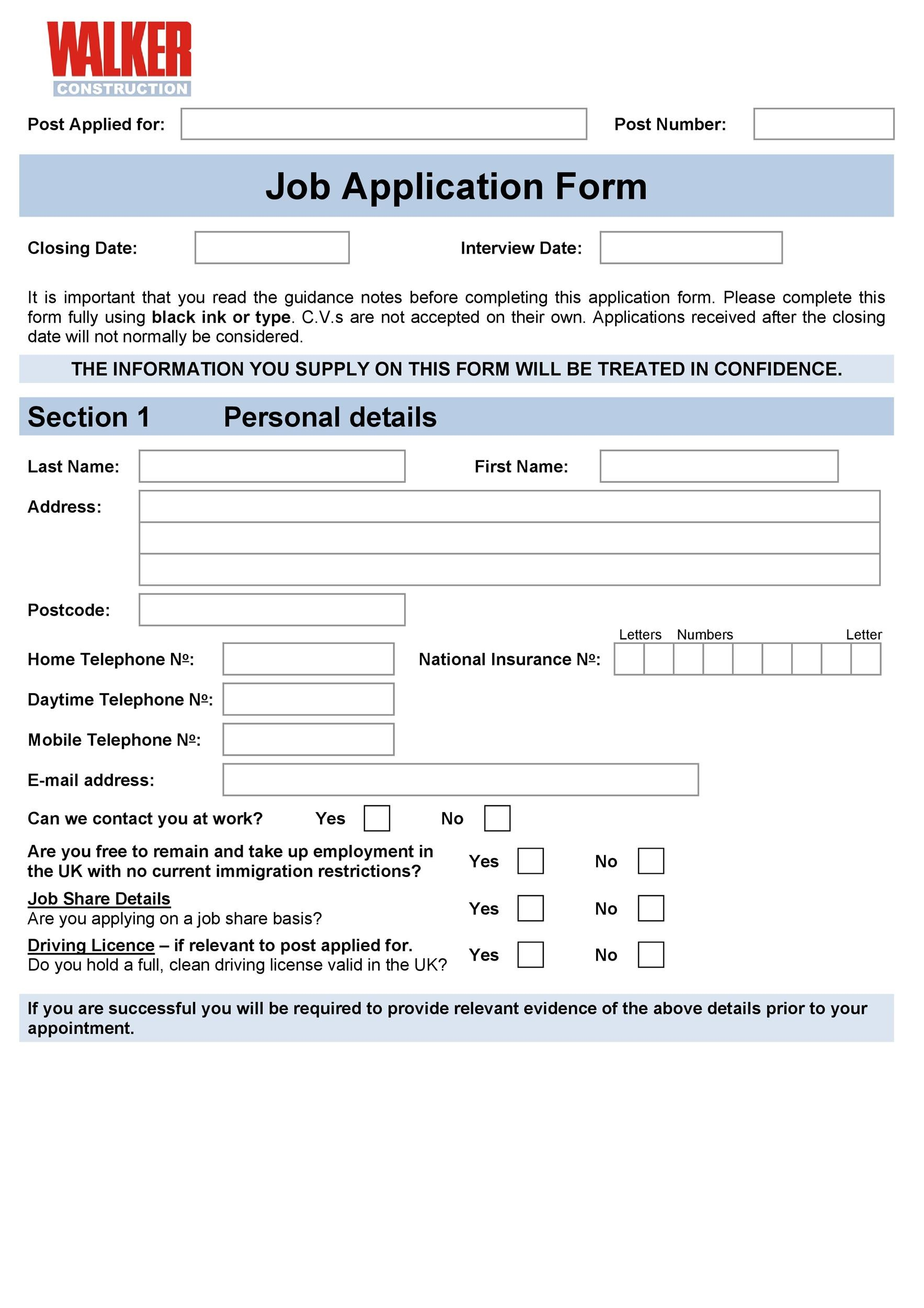 construction employment application template