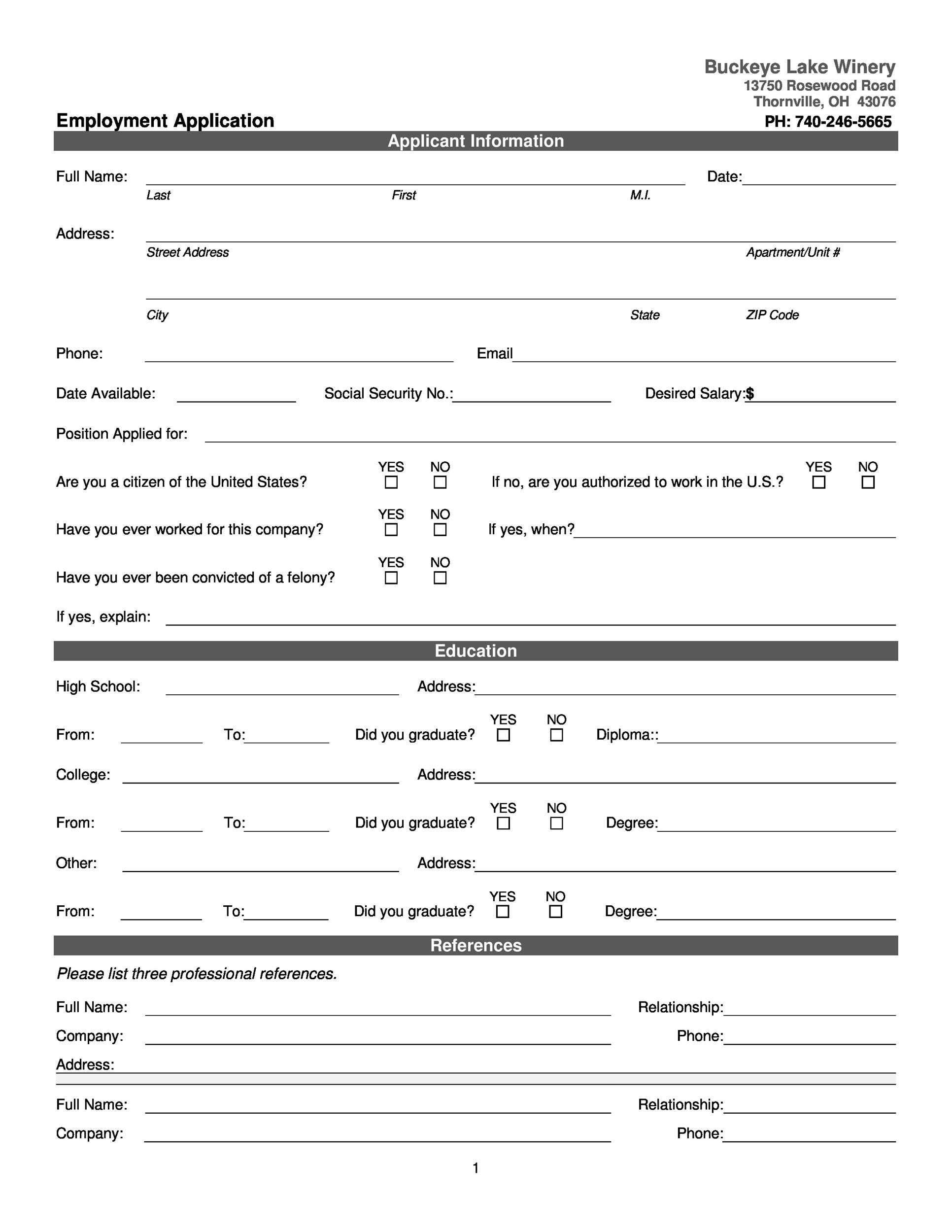 Free employment application template 38