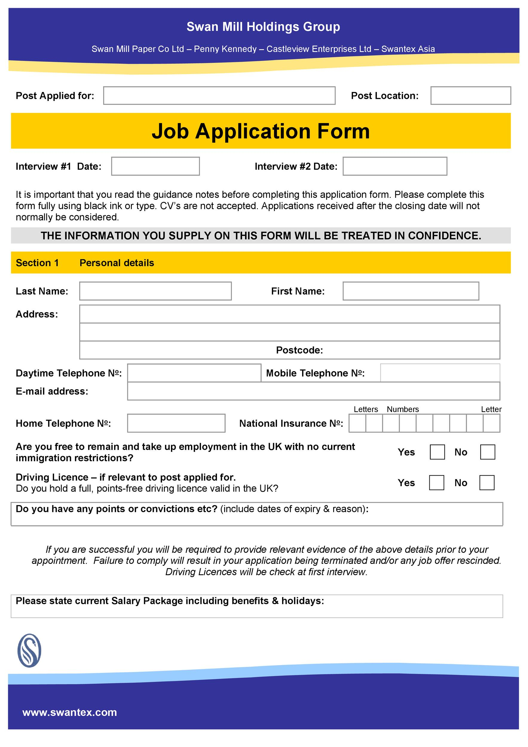 Free employment application template 39