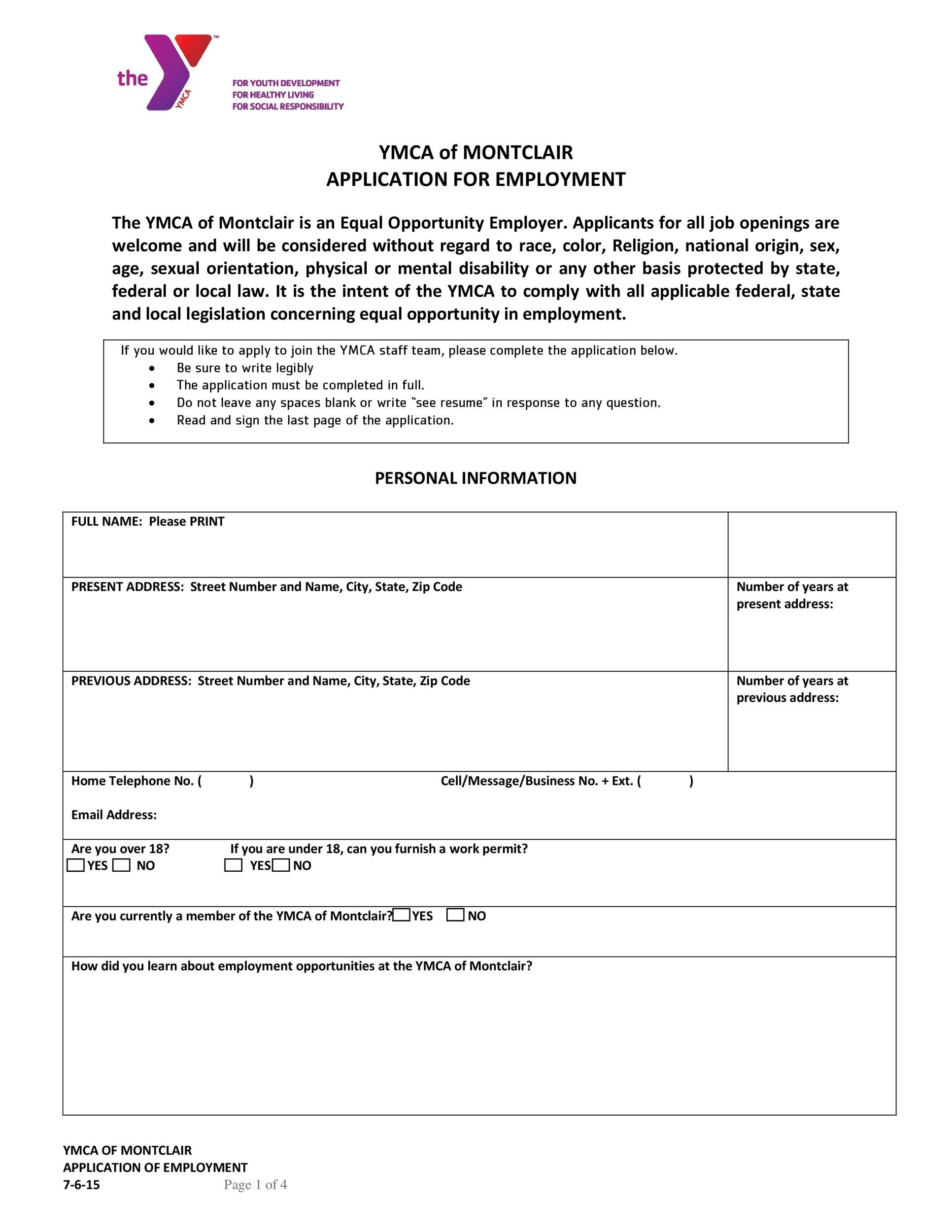 Free employment application template 41