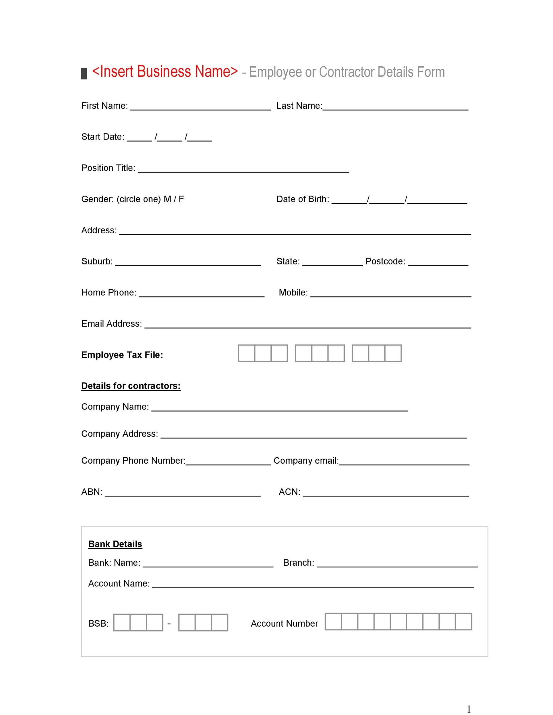 Employee Details Form Sample Word Invitation Template
