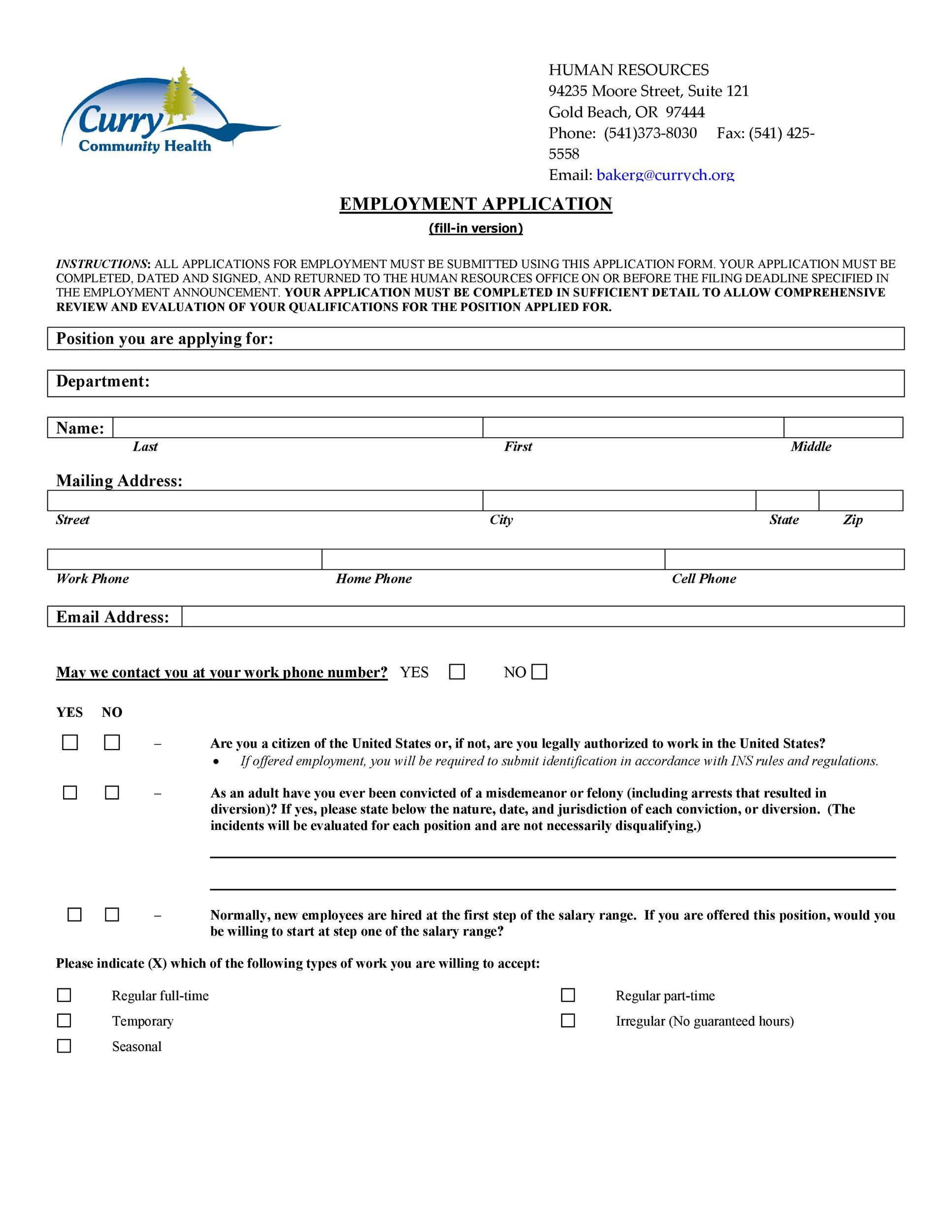 Free employment application template 47