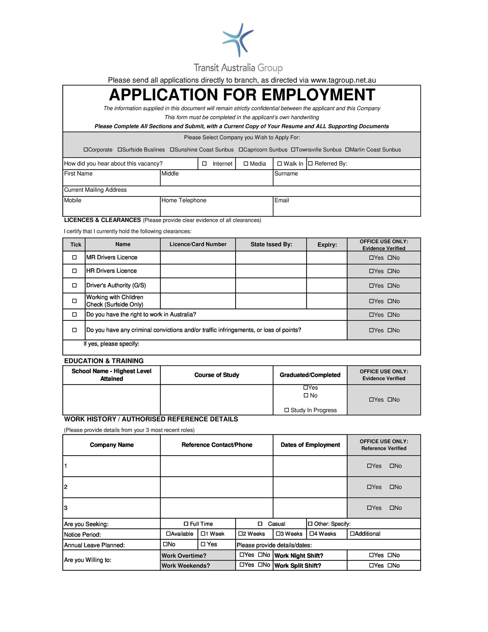 Free employment application template 50