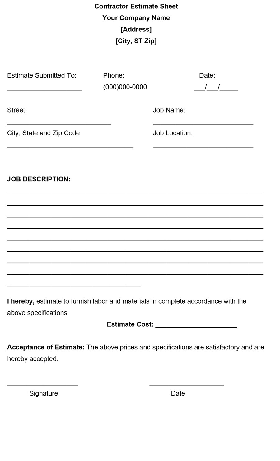44 Free Estimate Template Forms Construction Repair Cleaning