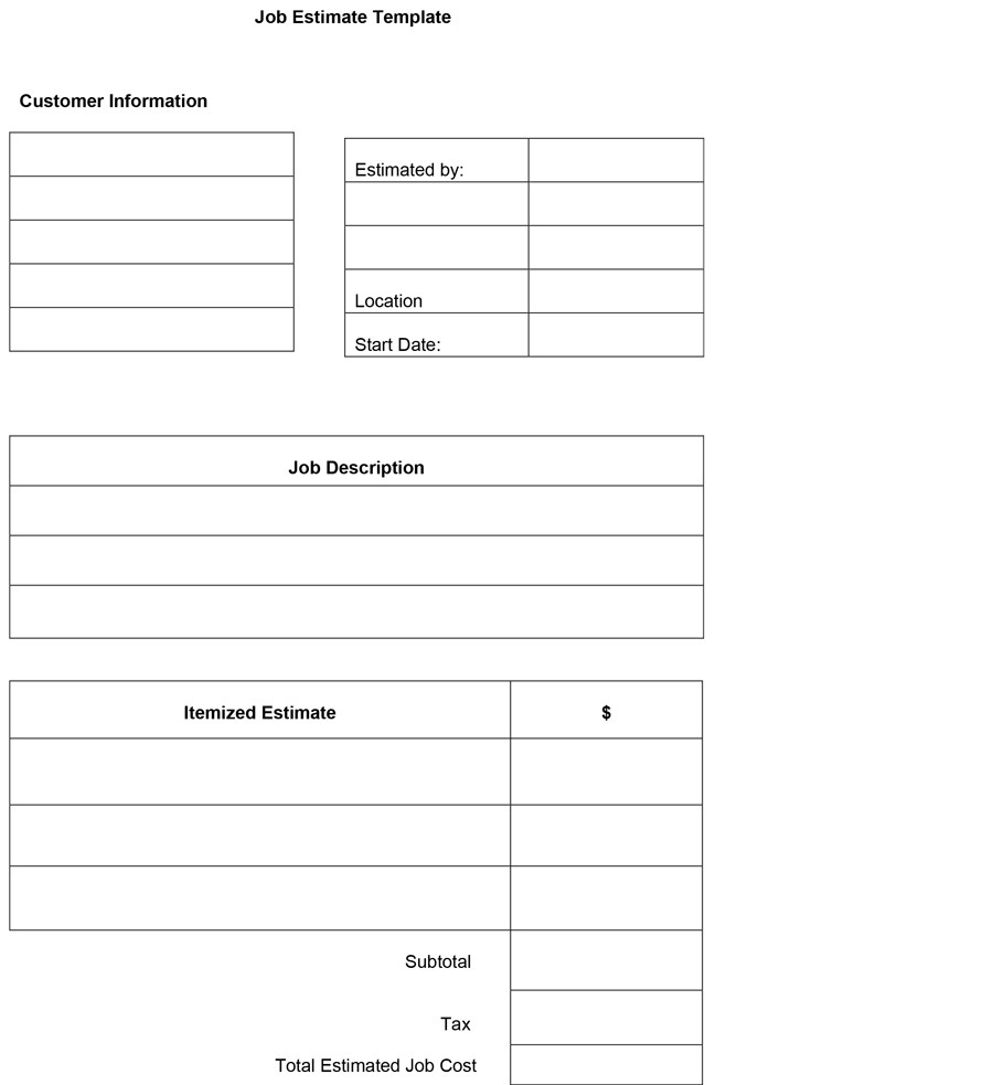 Free Estimate Template 16