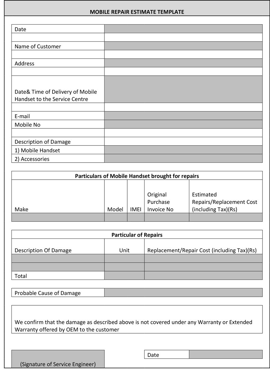 44 Free Estimate Template Forms [Construction, Repair