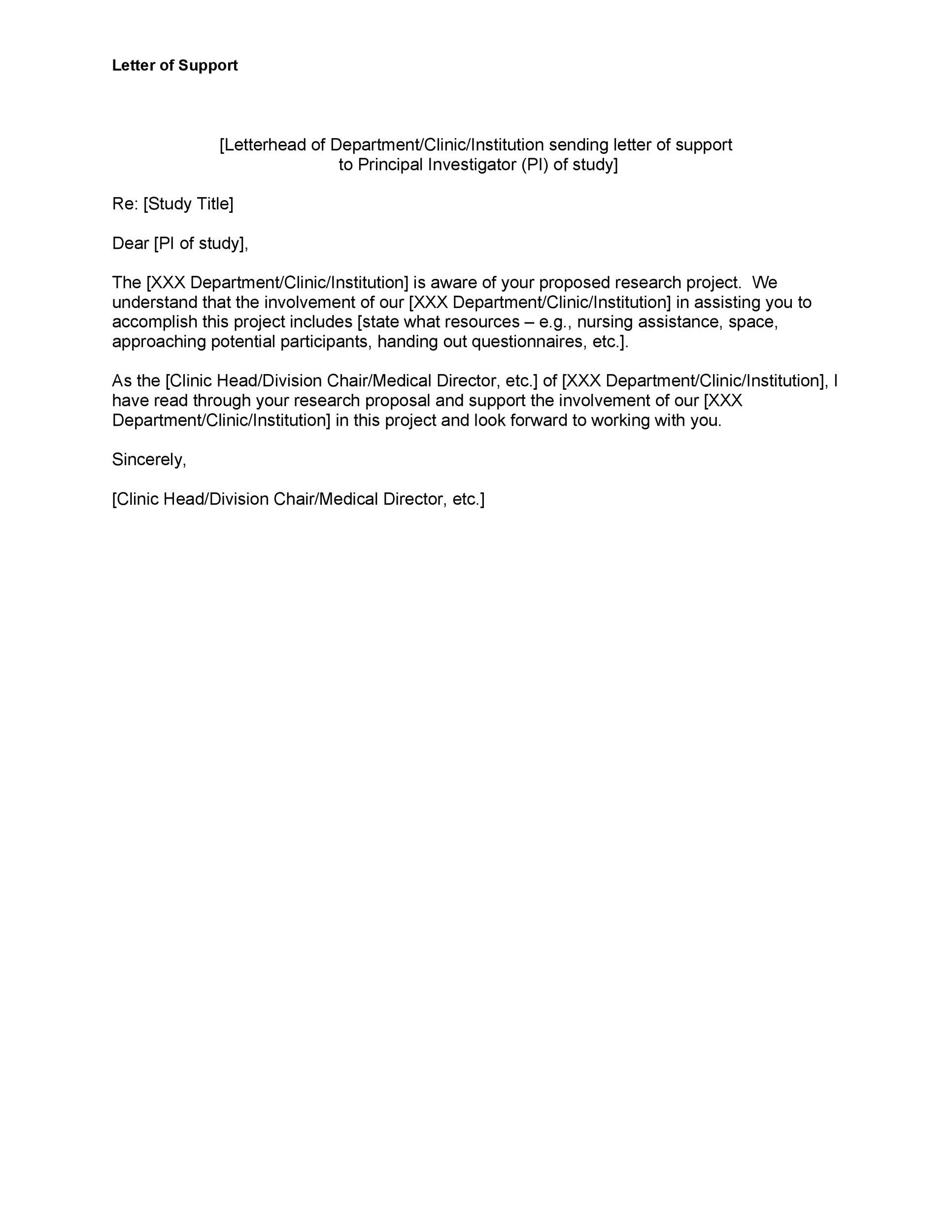 Letter Of Support Example For Grant from templatelab.com