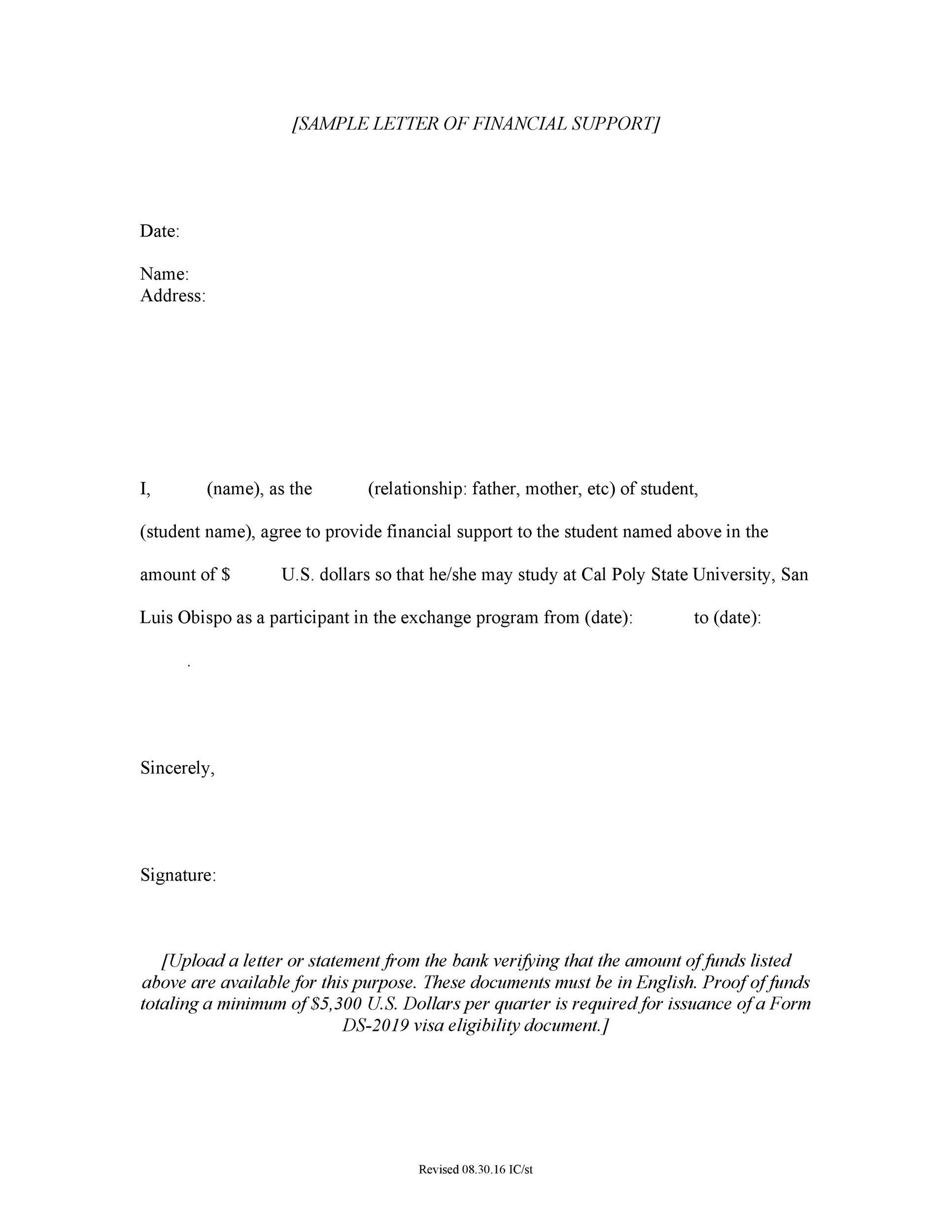 how to write a letter of support student