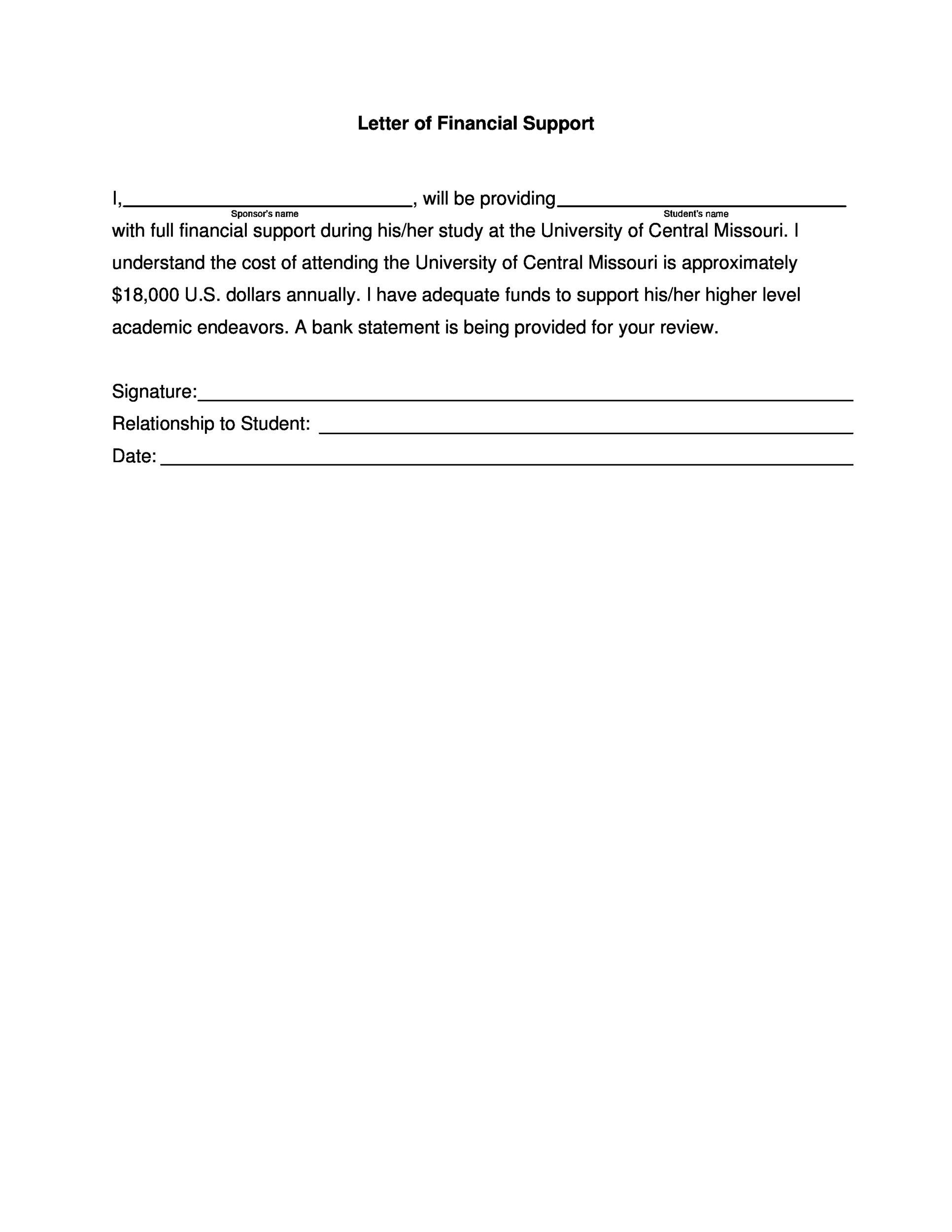 letter of request for financial help 40 proven letter of support templates financial for 16644