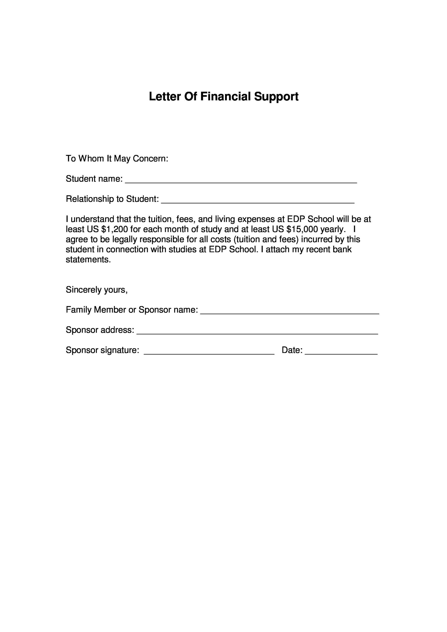 letter of financial support 40 proven letter of support templates financial for 221
