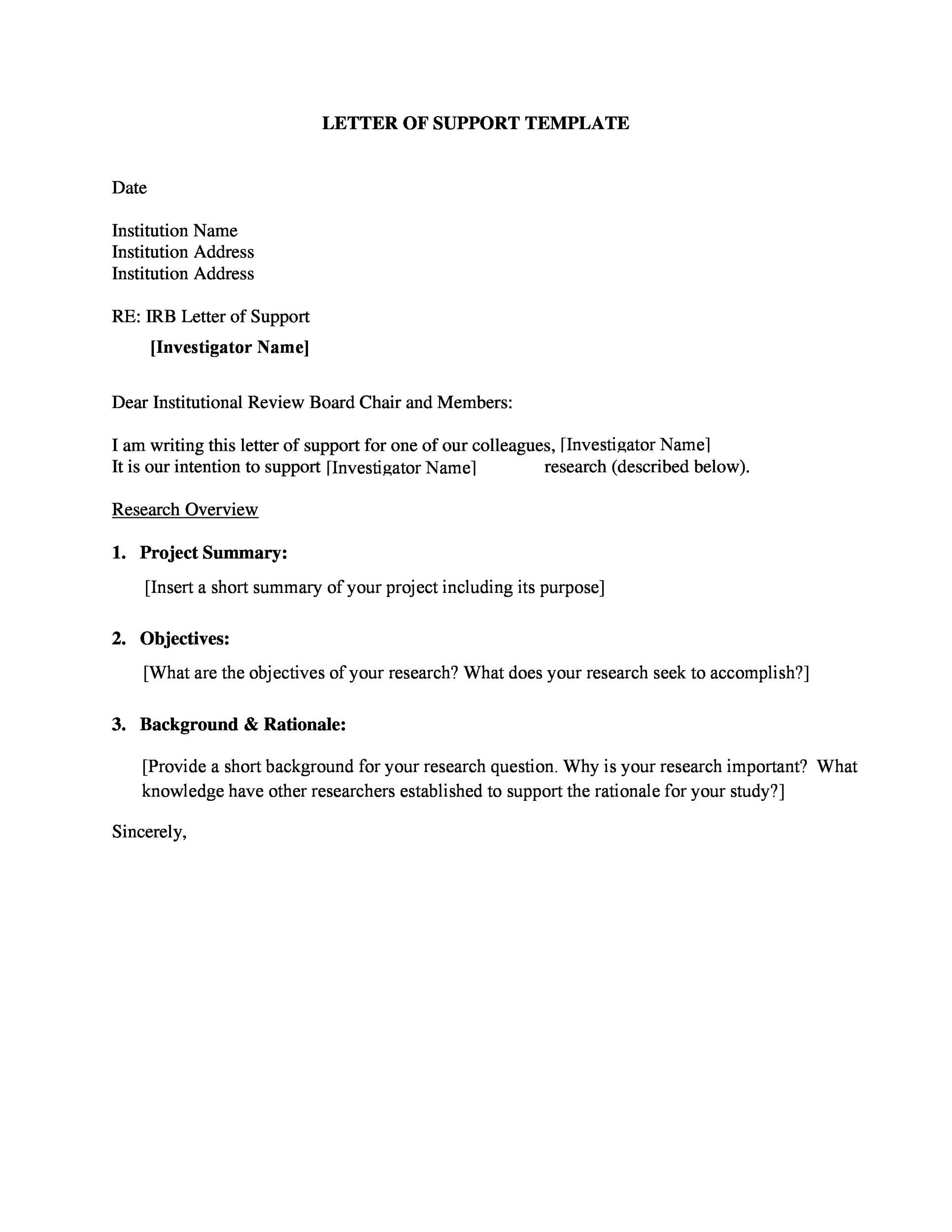 Proven Letter Of Support Templates Financial For Grant