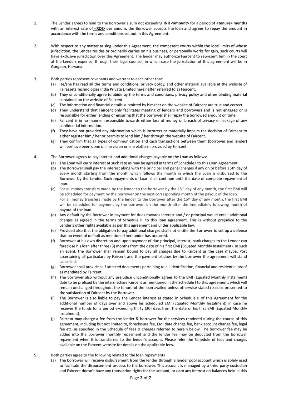 Printable Loan Agreement Template 01  Free Loan Agreement Template
