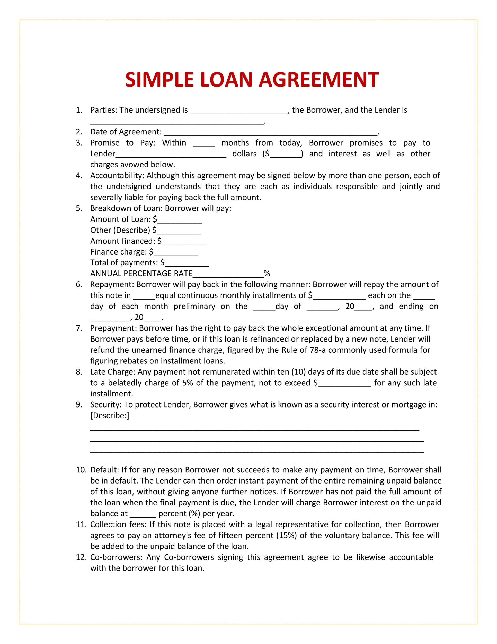 Printable Loan Agreement Template 03  Contract Templates For Word