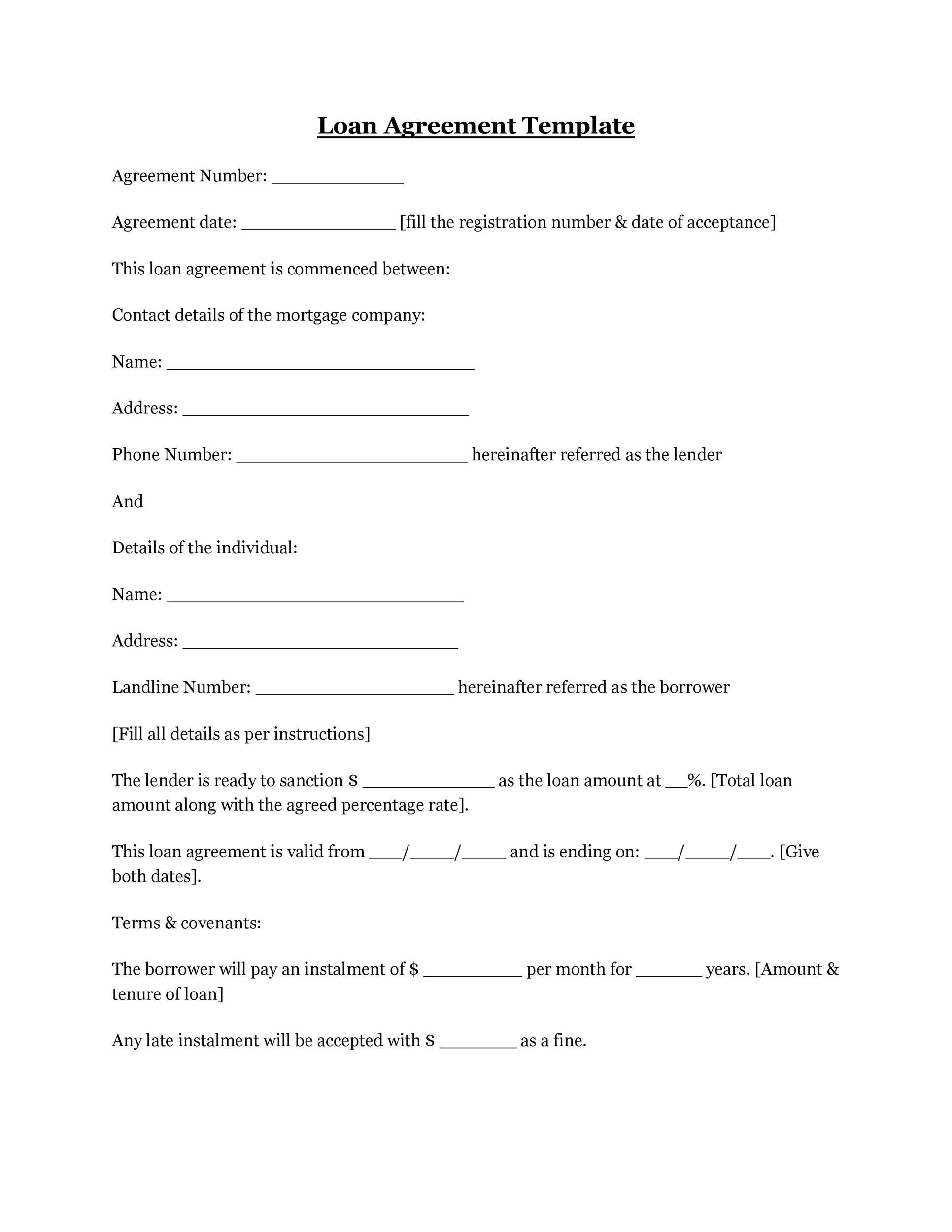 Printable Loan Agreement Template 05  Free Loan Document Template