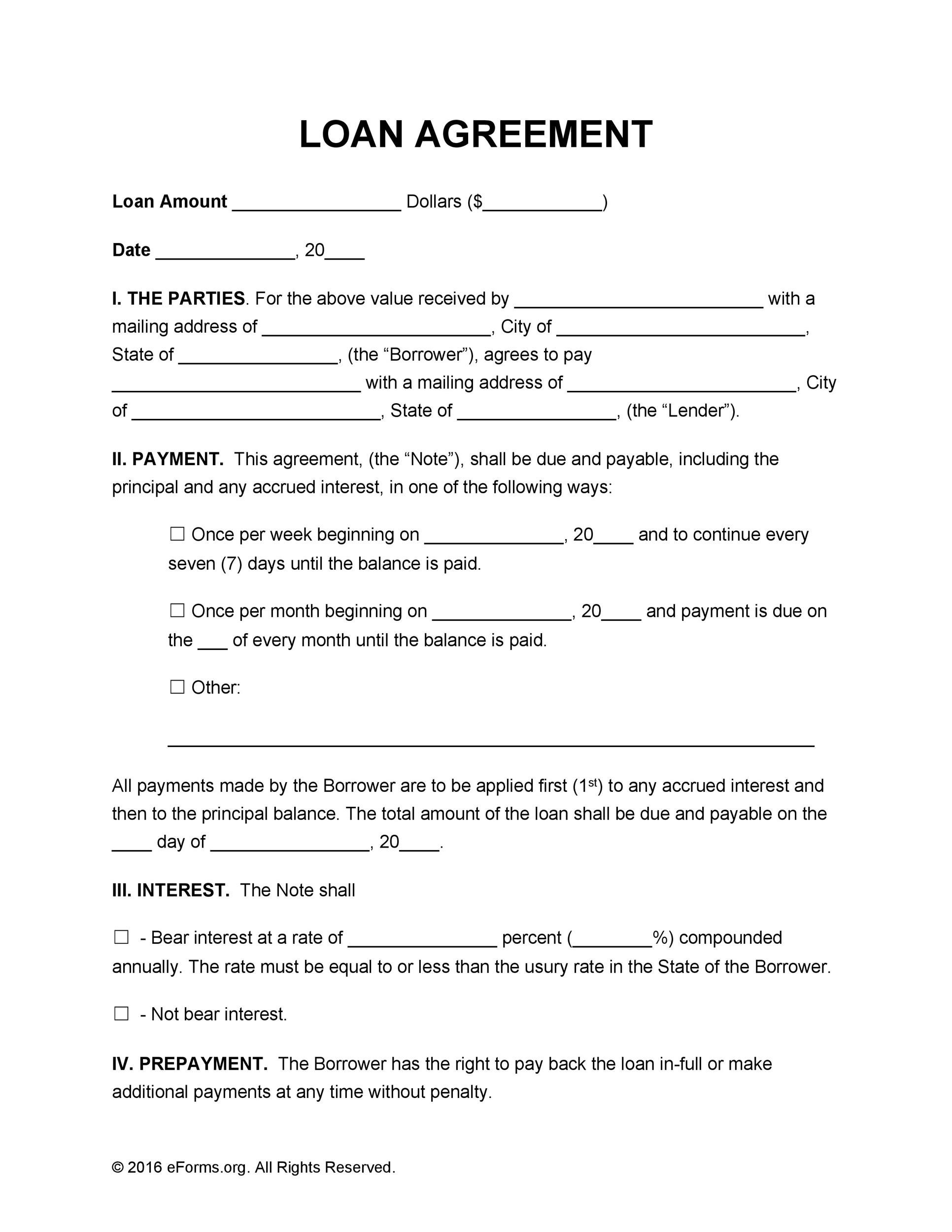 Free loan agreement template 06