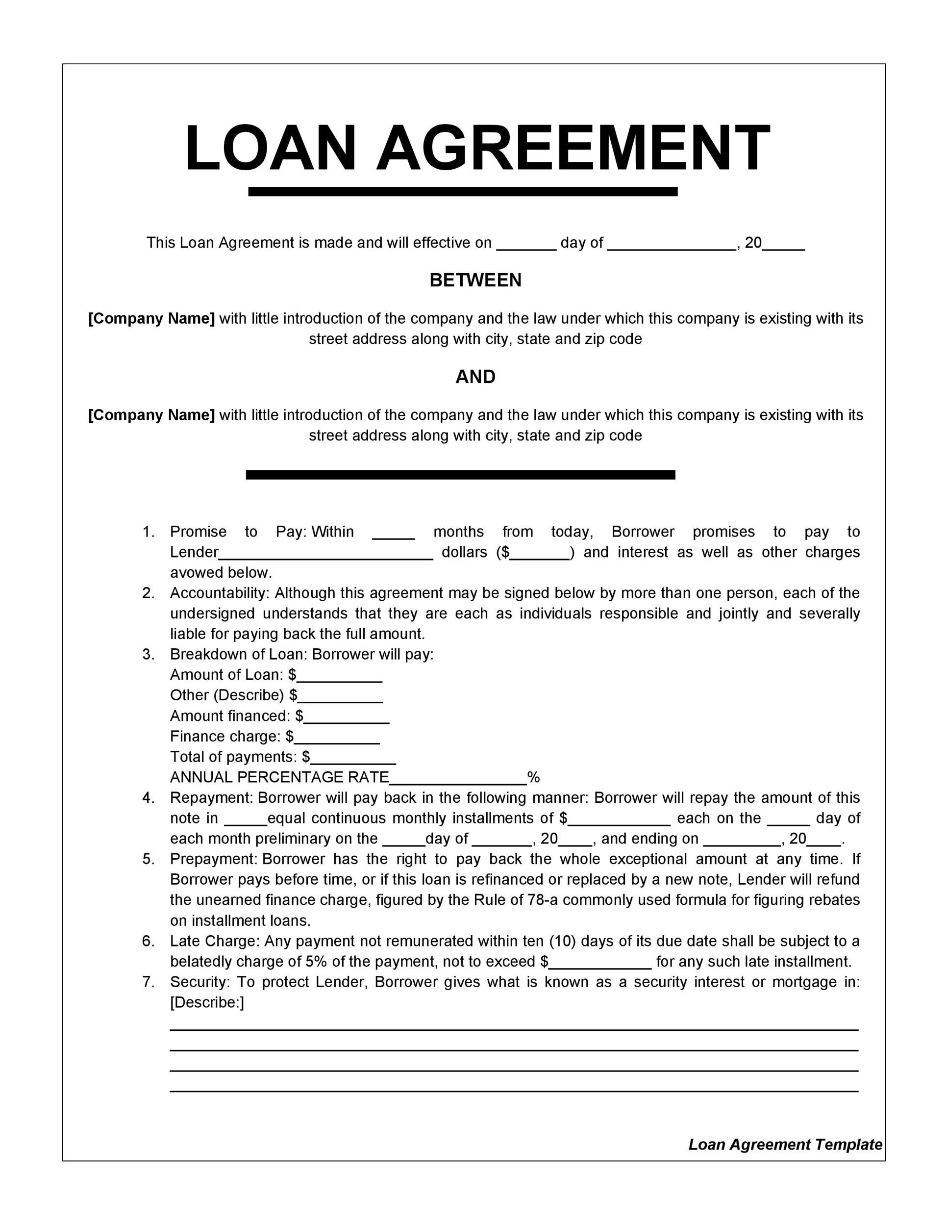 Printable Loan Agreement Template 07 Ideas Agreement Templates
