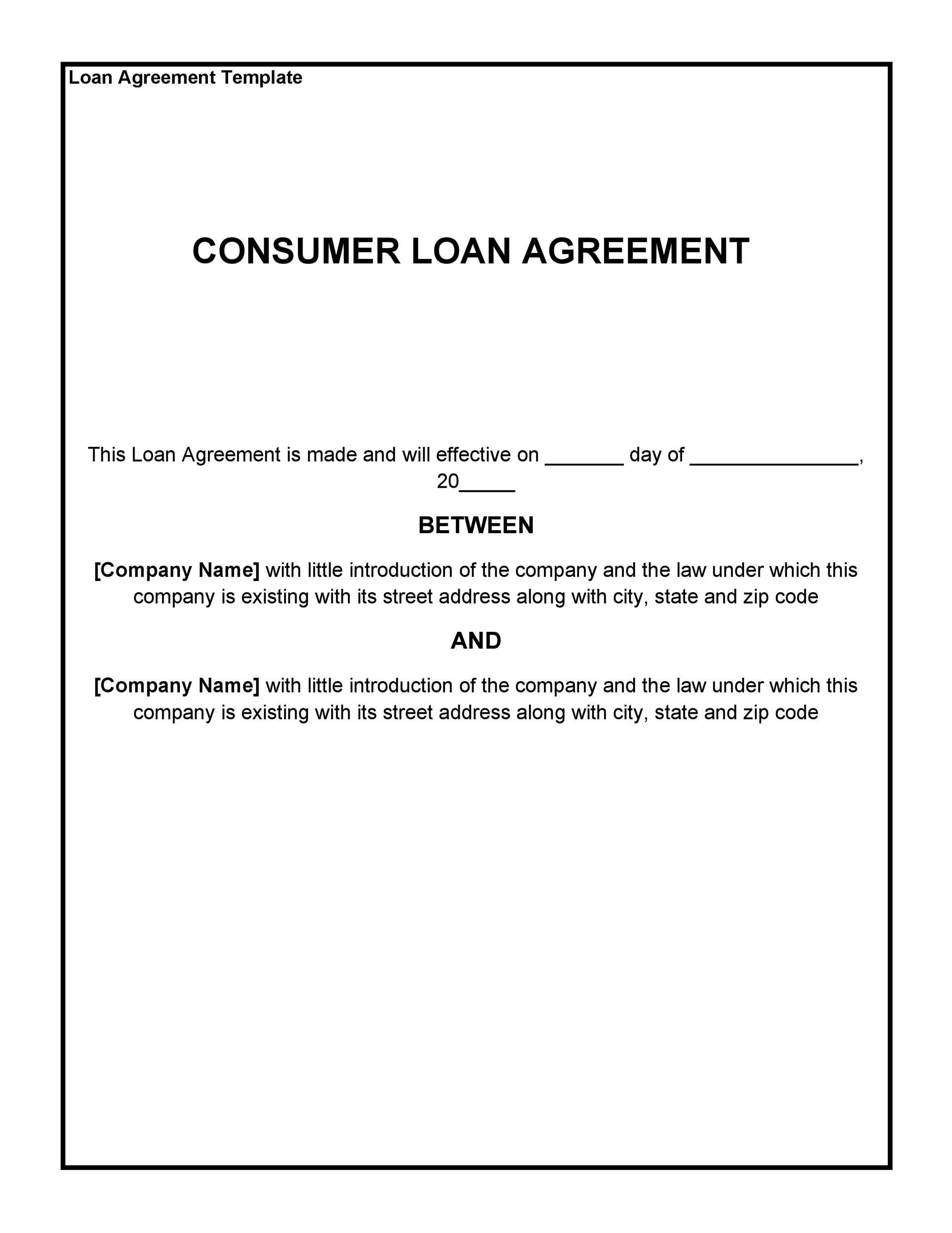 Consumer Loan Agreement Template  Personal Loan Agreement Template Microsoft Word