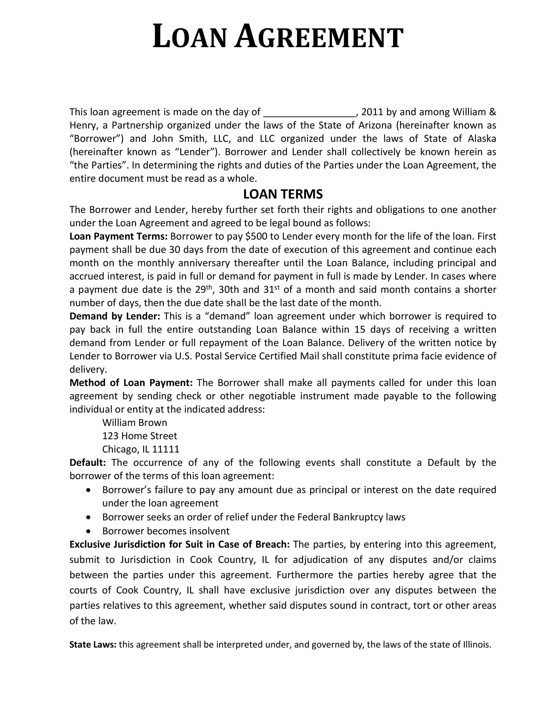 Free loan agreement template 09