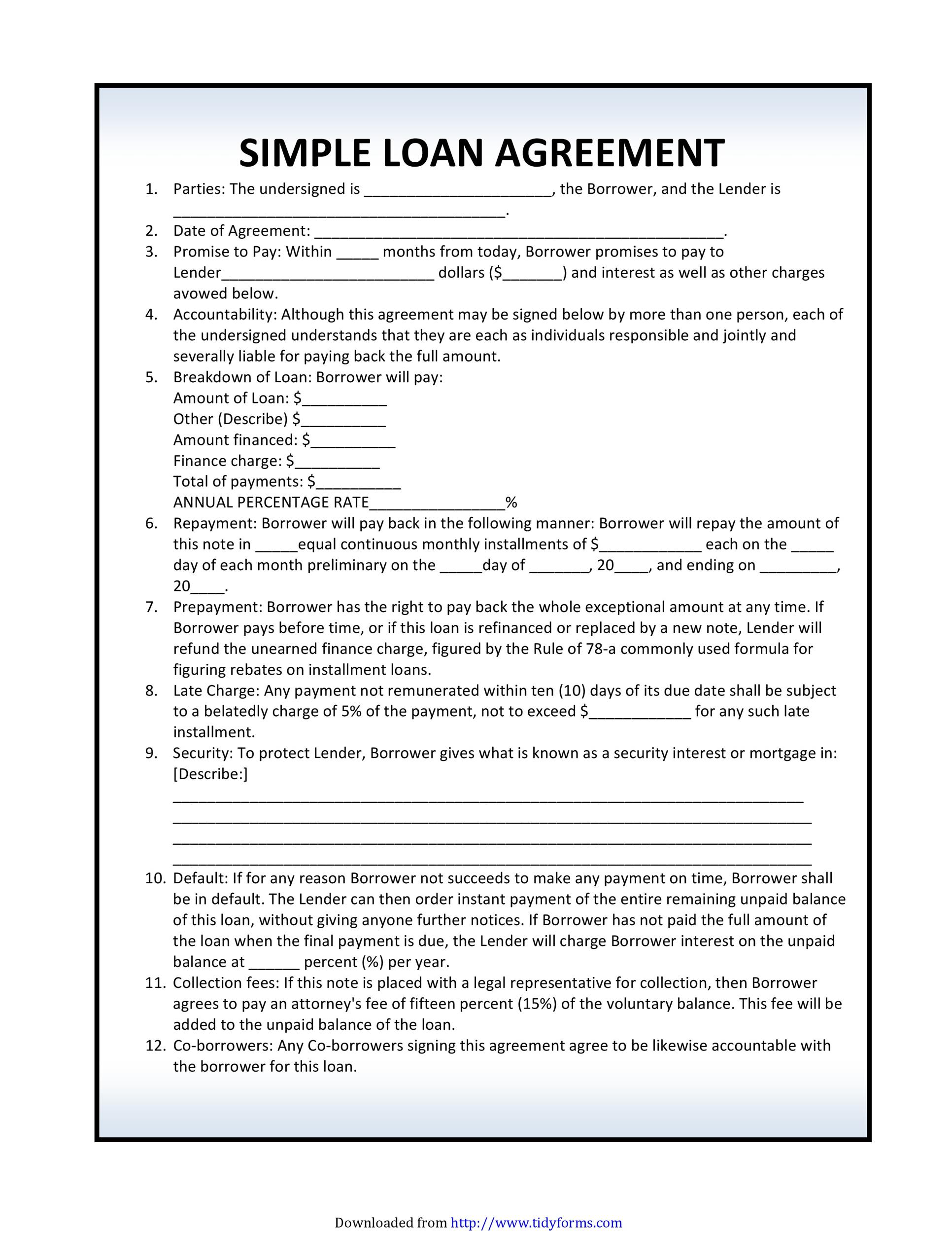 Printable Loan Agreement Template 10 In Free Loan Agreement Template