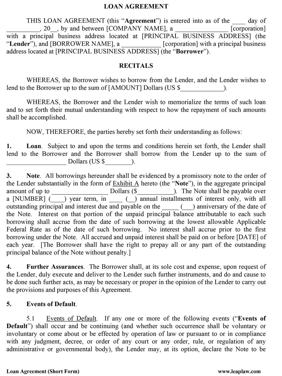 Printable Loan Agreement Template 12  Loan Agreement Templates